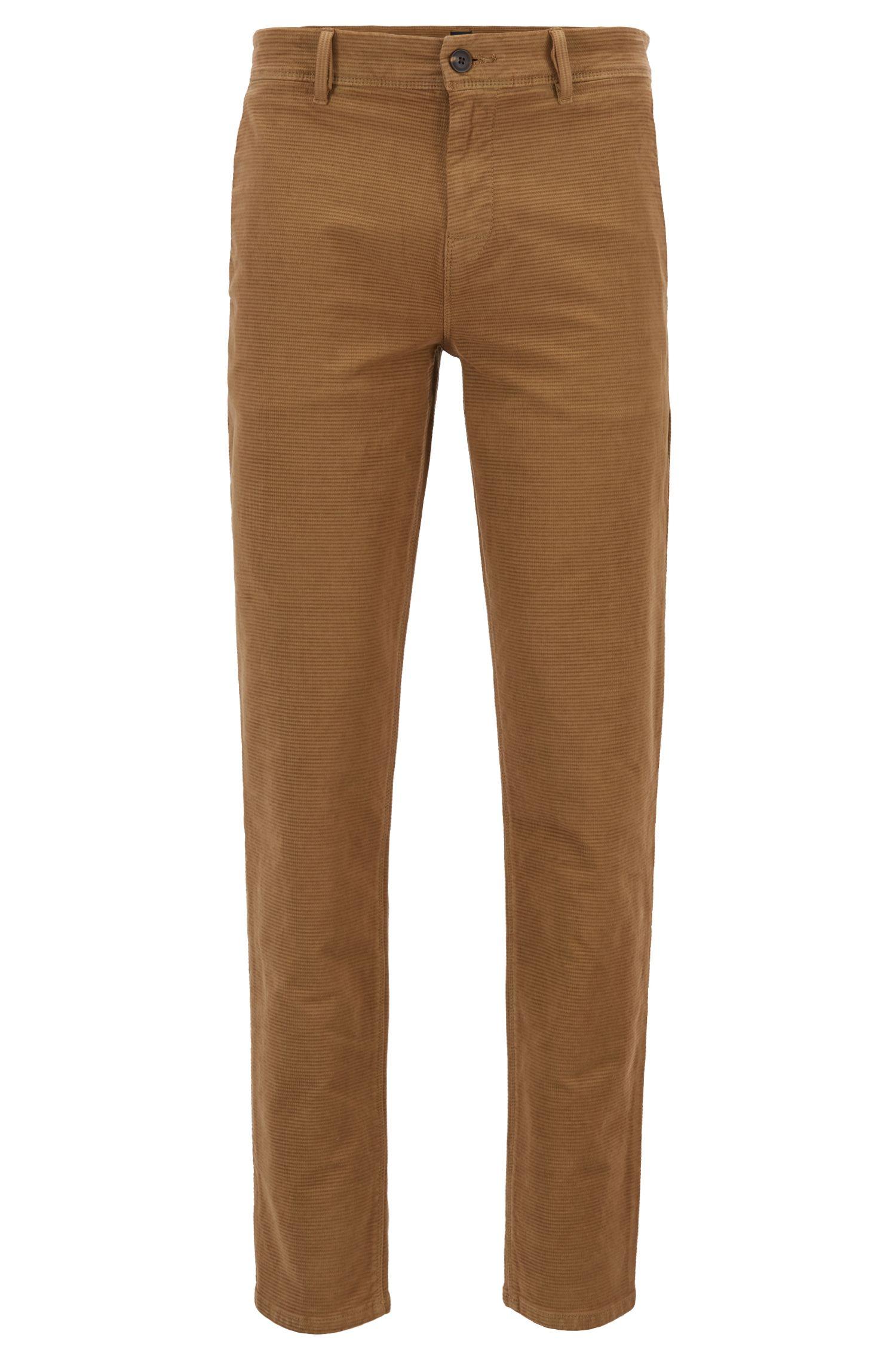 Tapered-Fit Hose aus strukturierter Stretch-Baumwolle, Beige