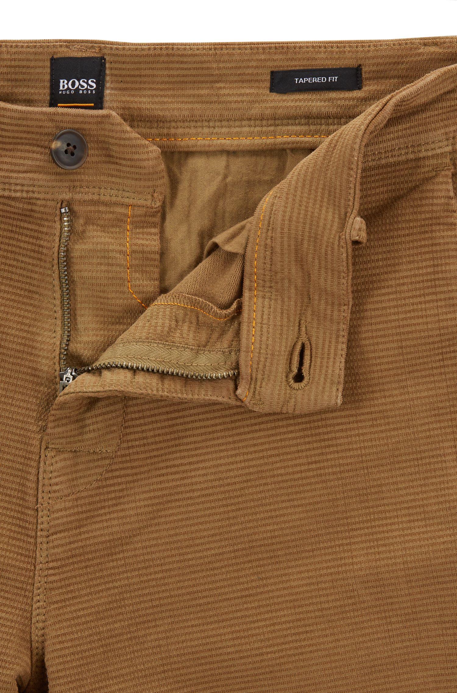 Pantalones tapered fit en algodón elástico con estructura, Beige