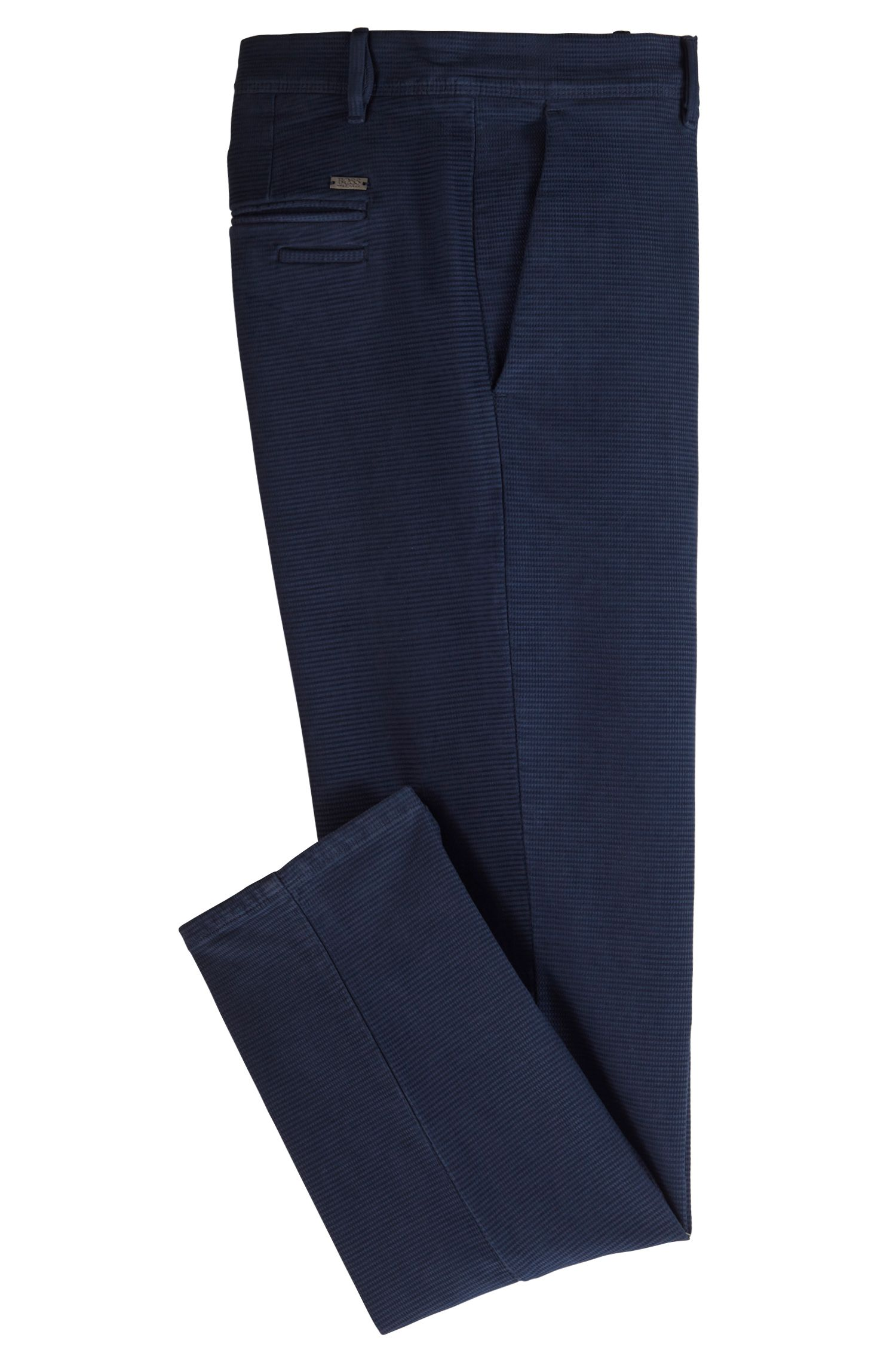 Tapered-fit trousers in structured stretch cotton, Dark Blue