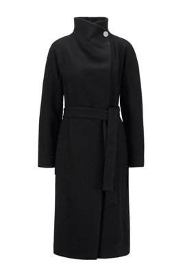 Wrap coat in a virgin-wool blend with cashmere, Black