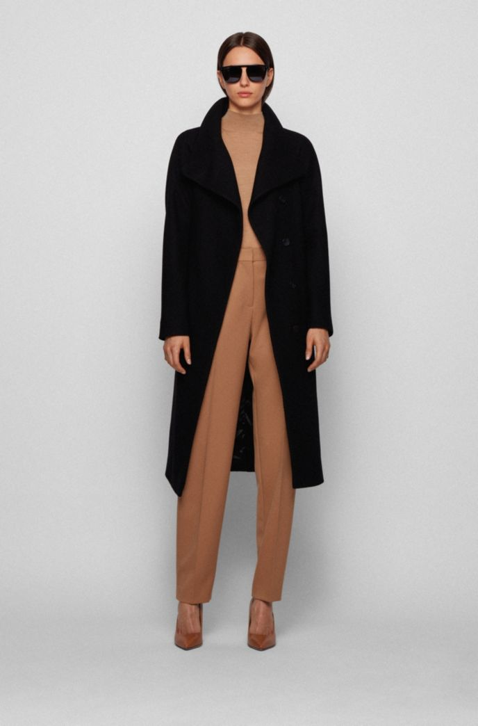 Wrap coat in a virgin-wool blend with cashmere
