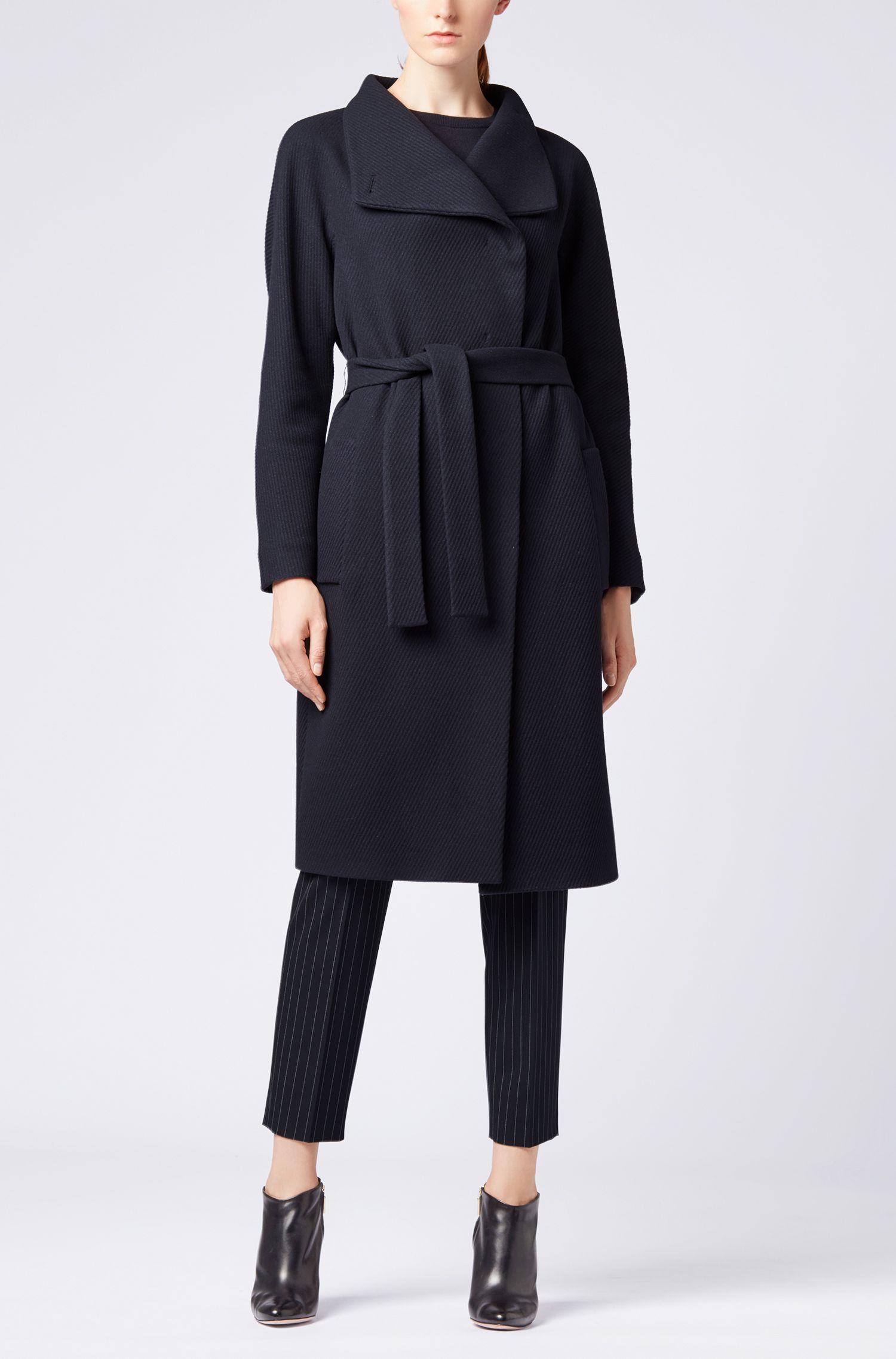 Cappotto a vestaglia in misto lana vergine con cashmere