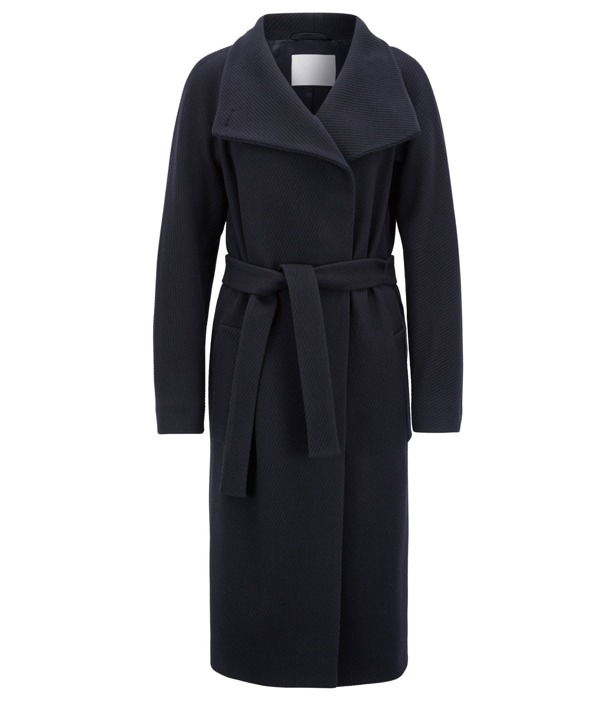 Wrap coat in a virgin-wool blend with cashmere, Donkerblauw
