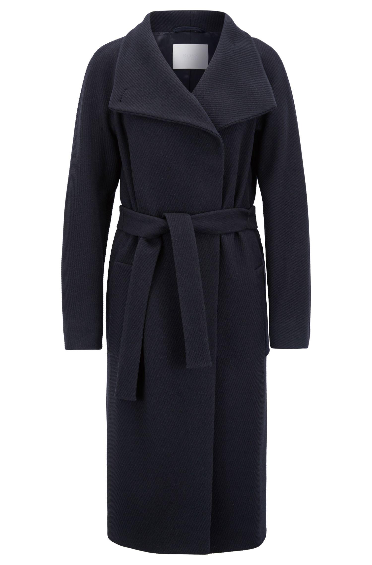 Manteau peignoir en laine vierge mélangée à du cachemire, Bleu foncé