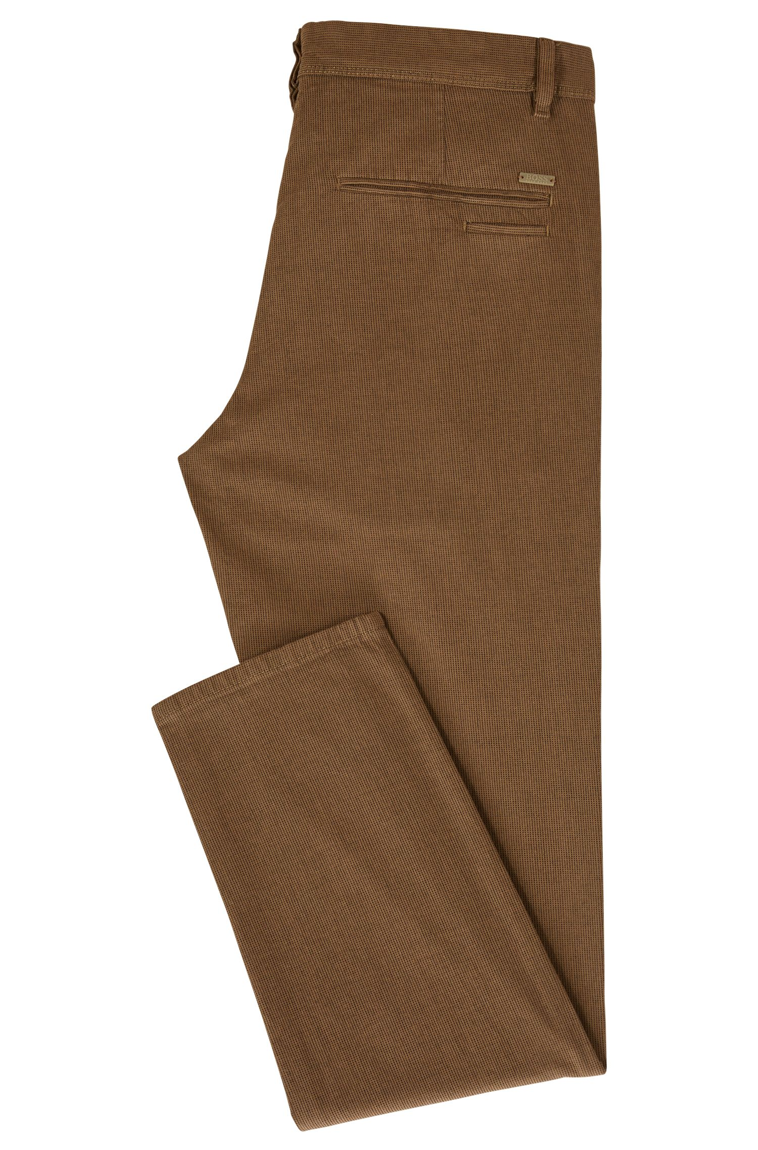 Tapered-fit chino van stretchkatoen met microstructuur
