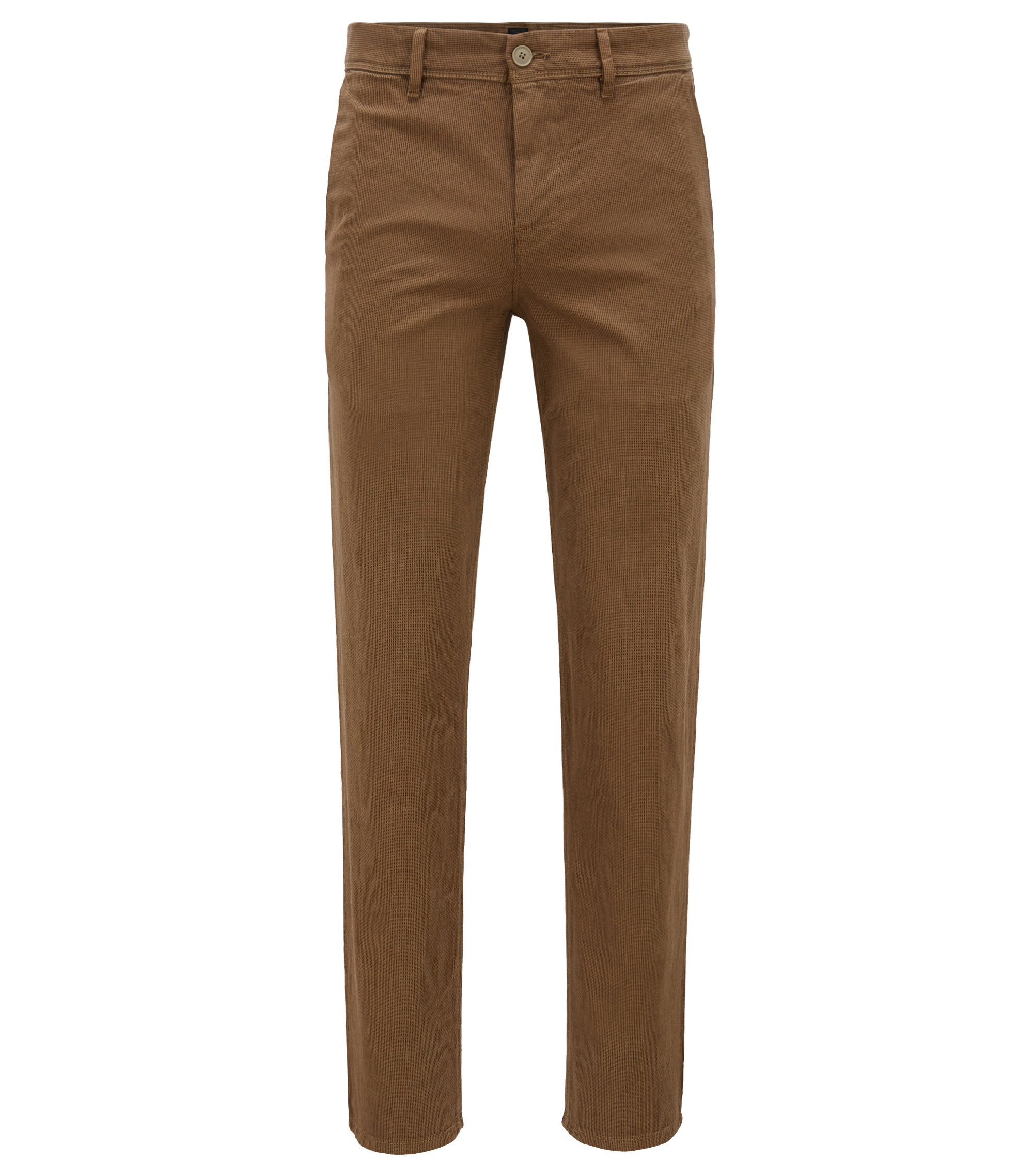 Tapered-Fit Chino aus Stretch-Baumwolle mit dezenter Struktur, Hellbraun