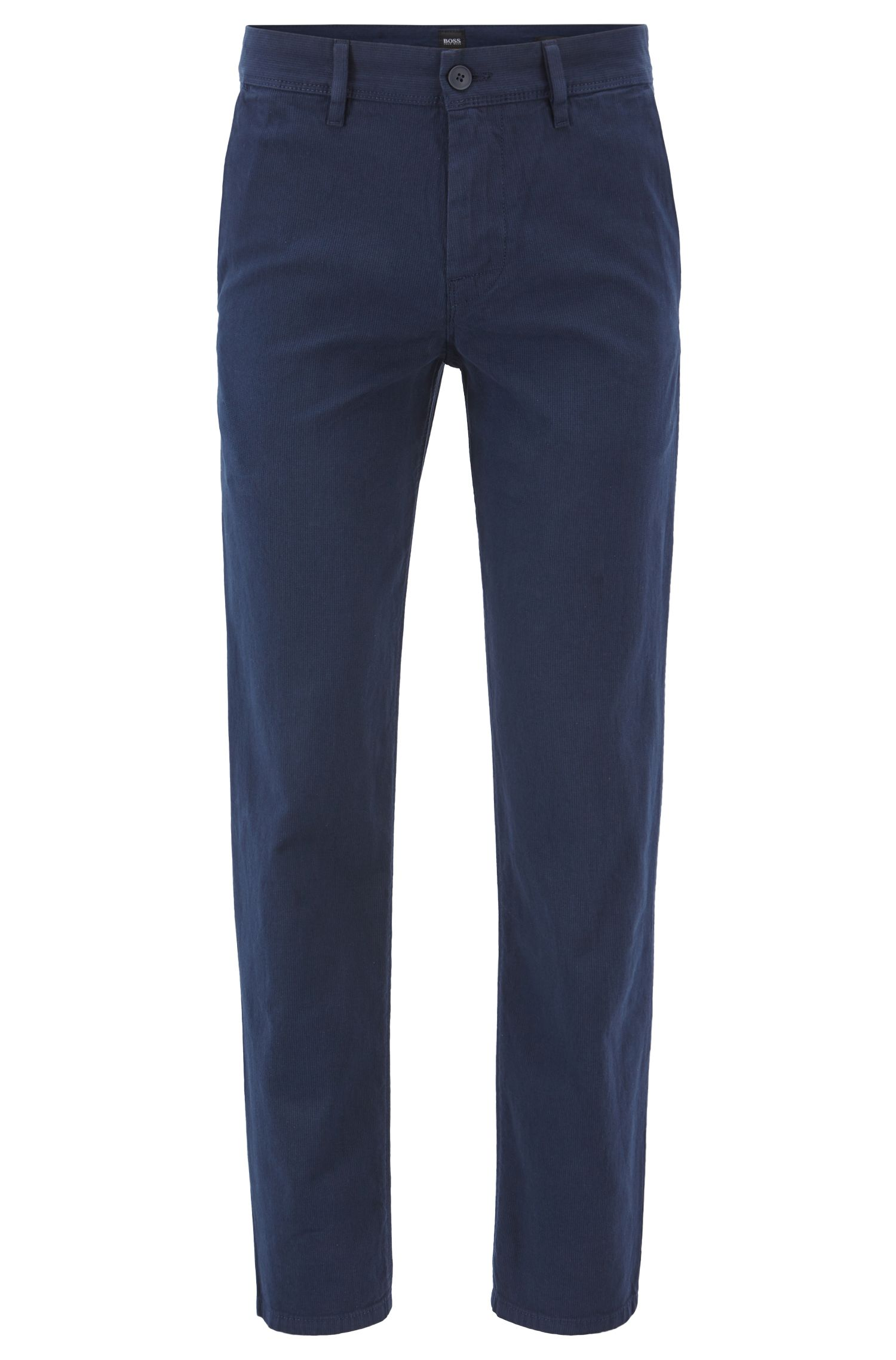 Tapered-Fit Chino aus Stretch-Baumwolle mit dezenter Struktur, Dunkelblau