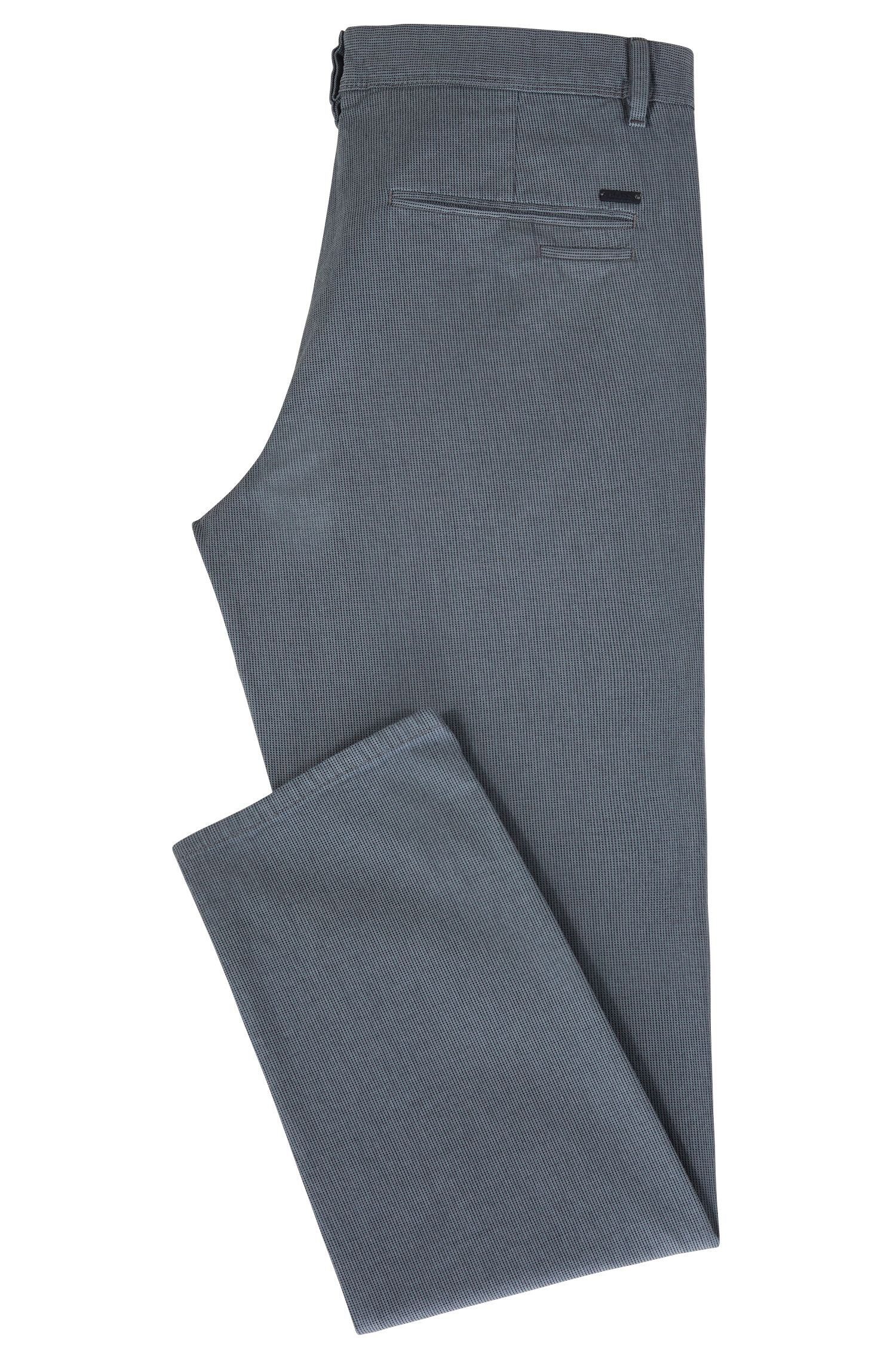 Chino Tapered Fit en coton stretch micro-texturé, Bleu