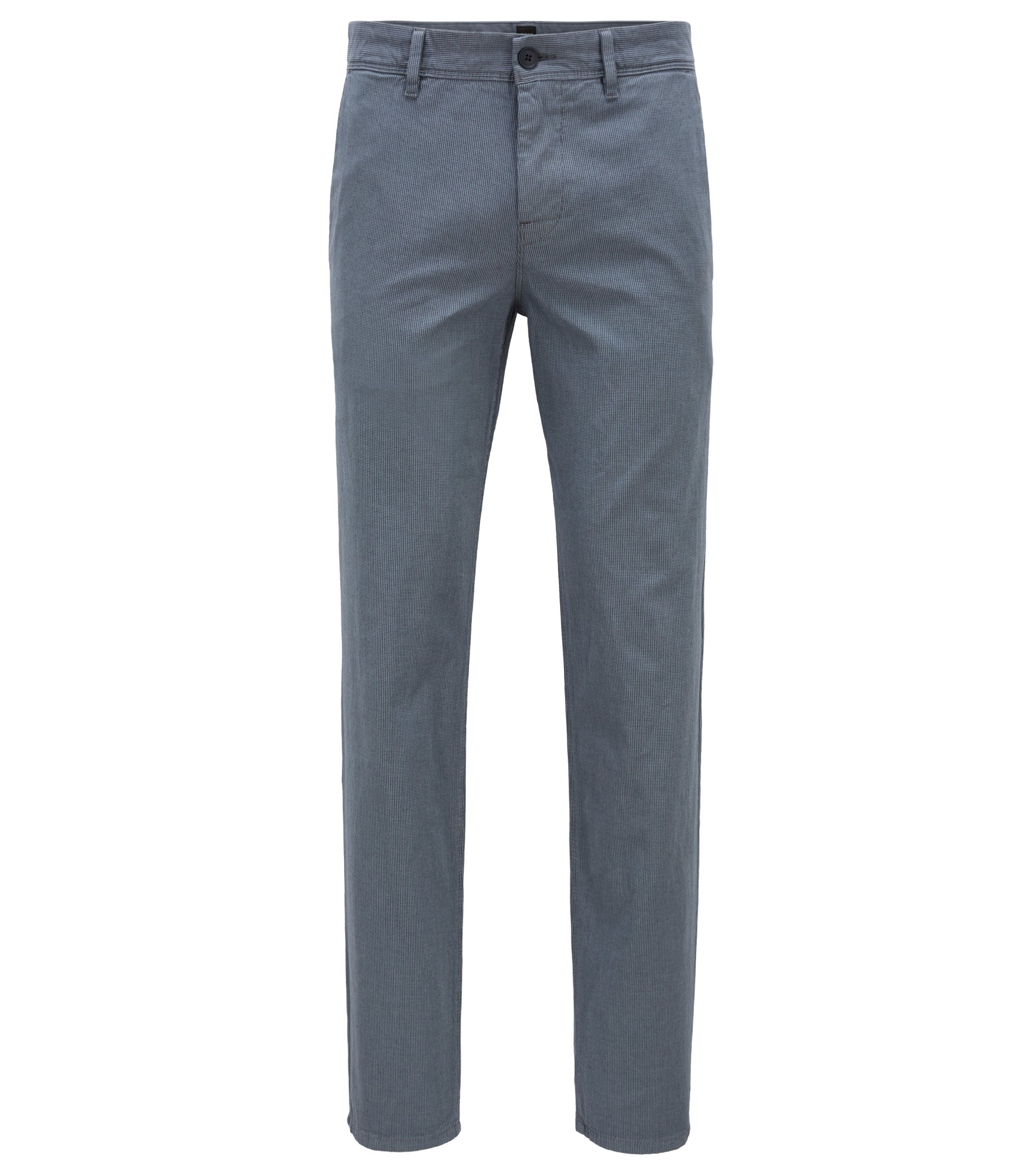 Tapered-Fit Chino aus Stretch-Baumwolle mit dezenter Struktur, Blau