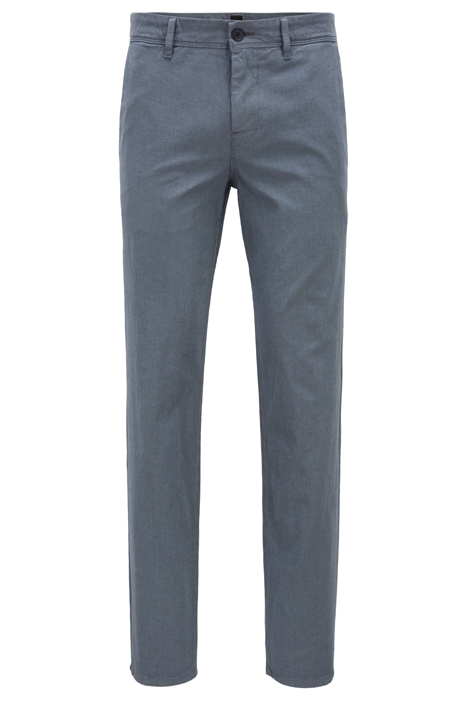 Tapered-fit chinos in micro-structured stretch cotton, Blue