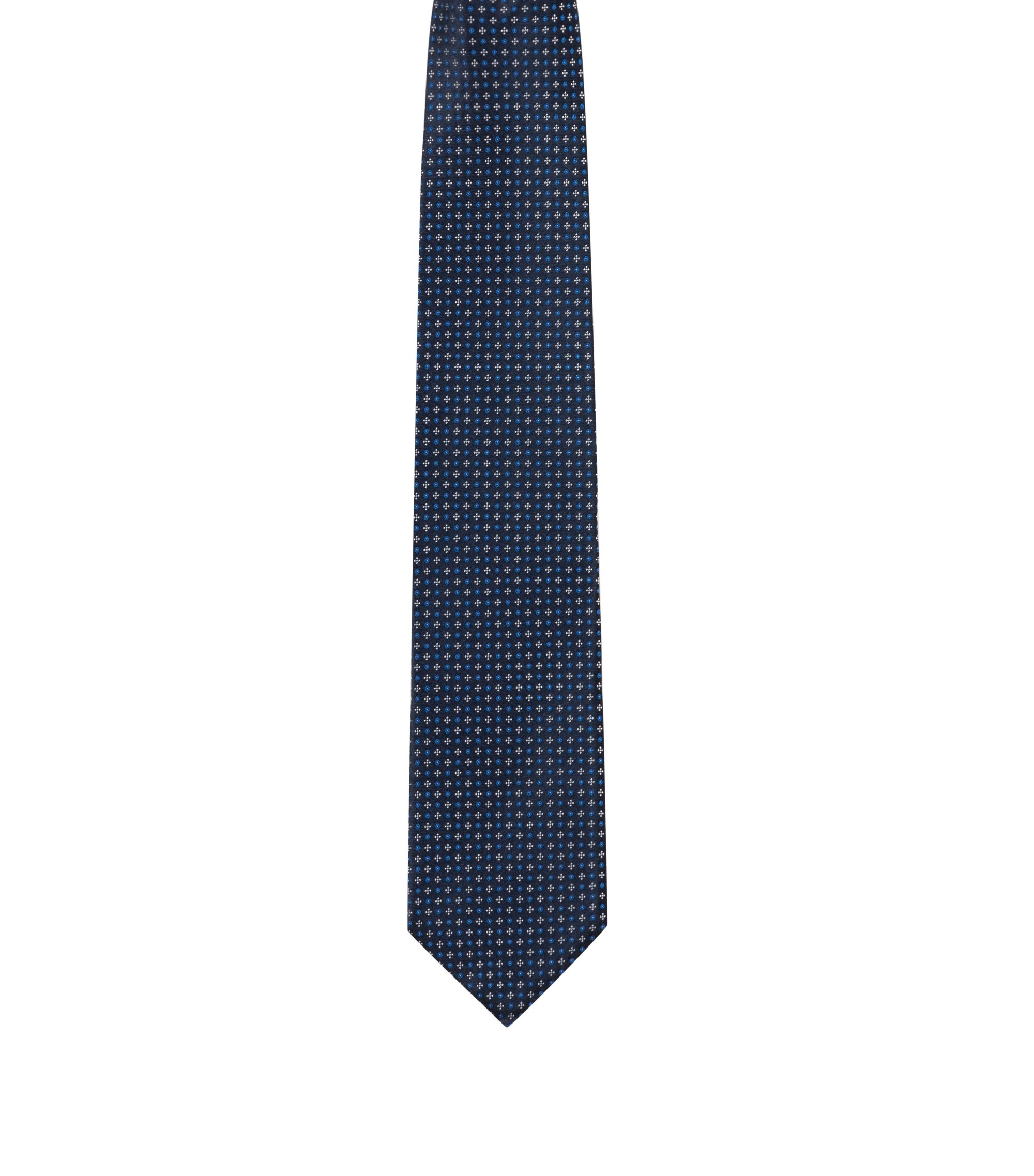 Micro-patterned tie in pure silk jacquard, Dark Blue