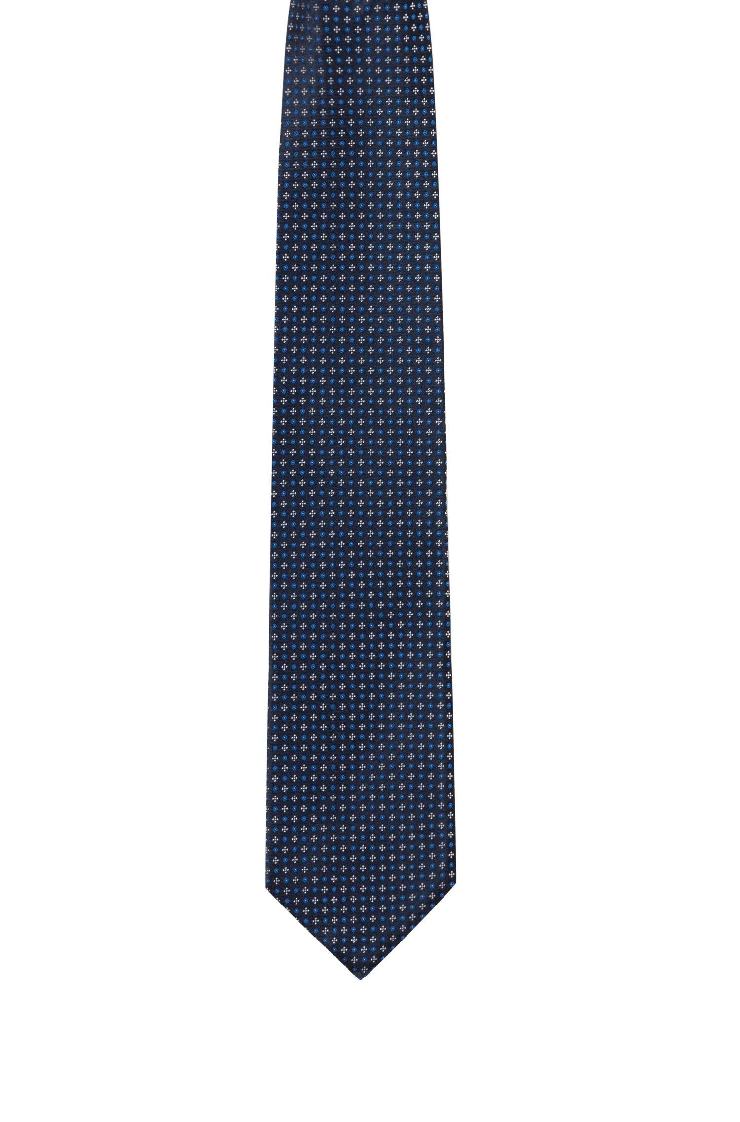 Corbata de jacquard en seda pura con microestampado, Azul oscuro