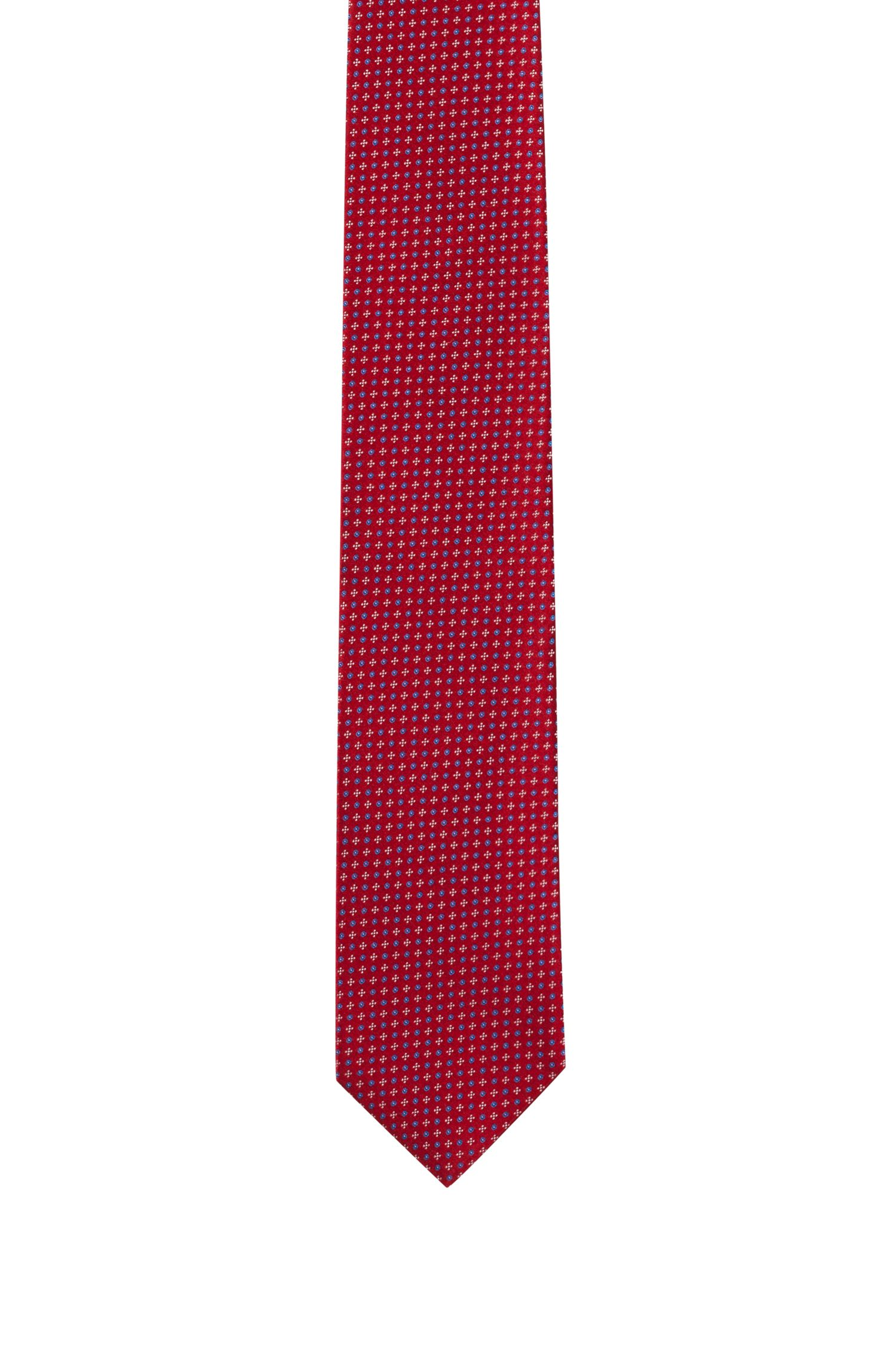 Micro-patterned tie in pure silk jacquard, Red