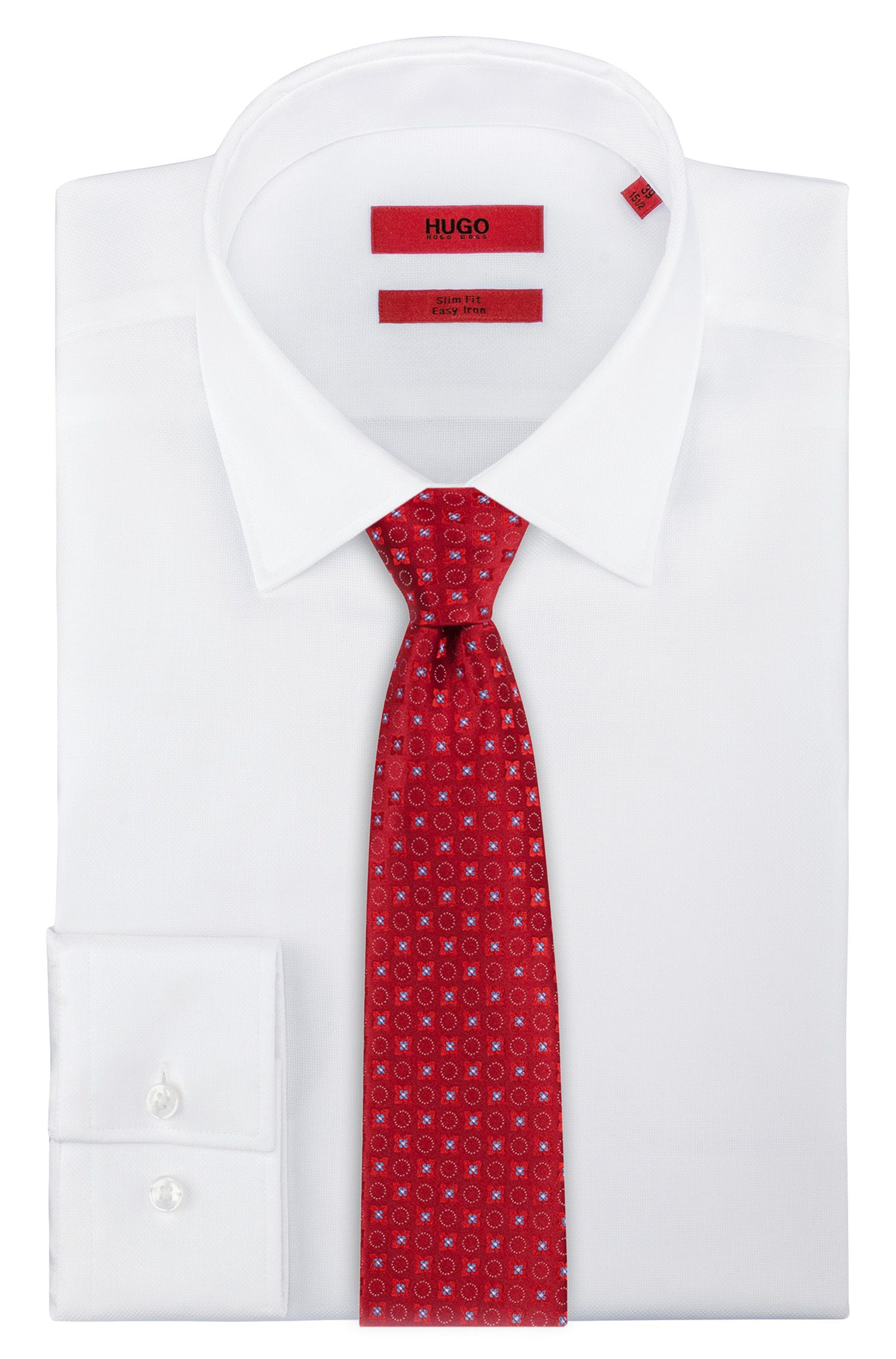 Silk-jacquard patterned tie, Red