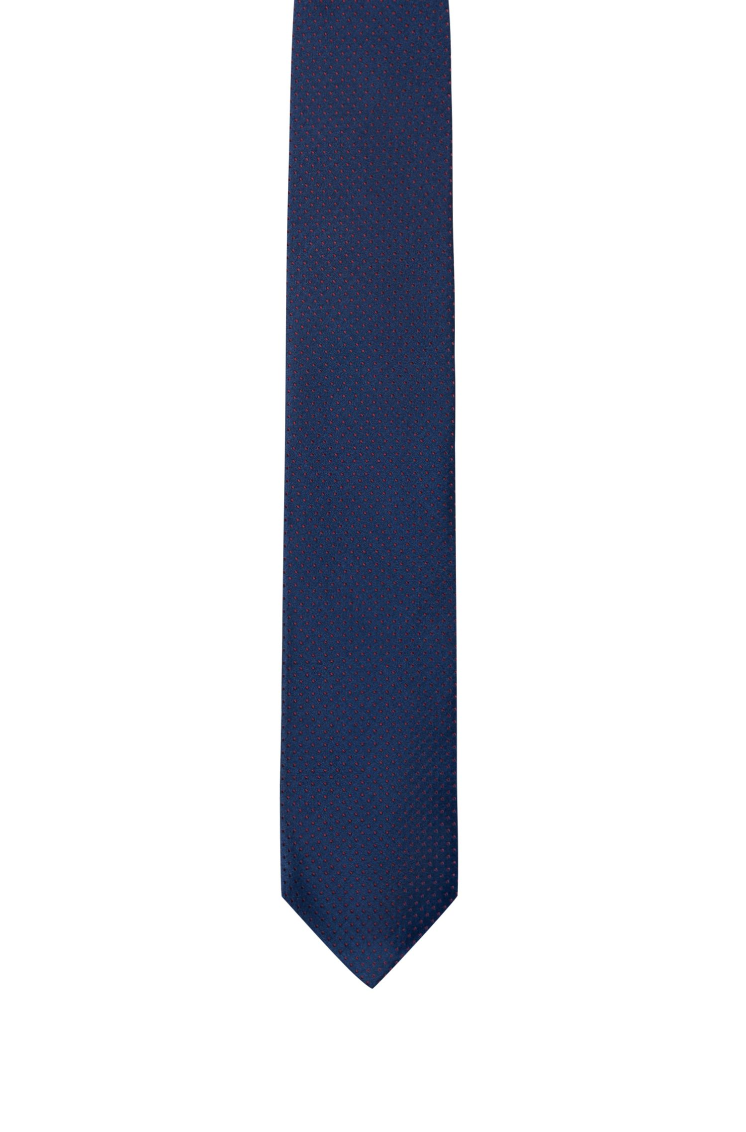 Micro-dot tie in silk jacquard, Dark Blue