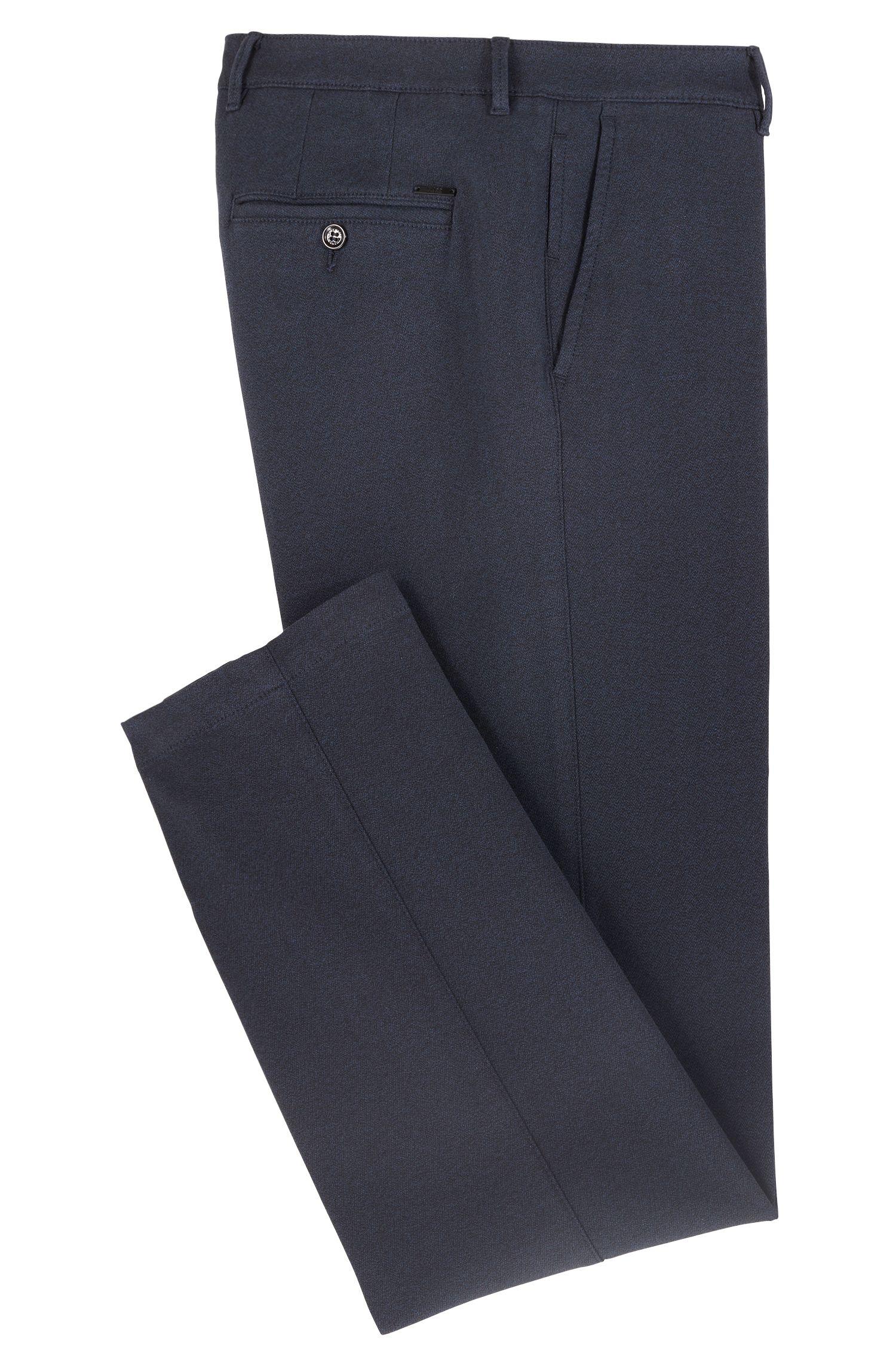 Chino regular fit in twill mouliné elasticizzato, Blue Scuro