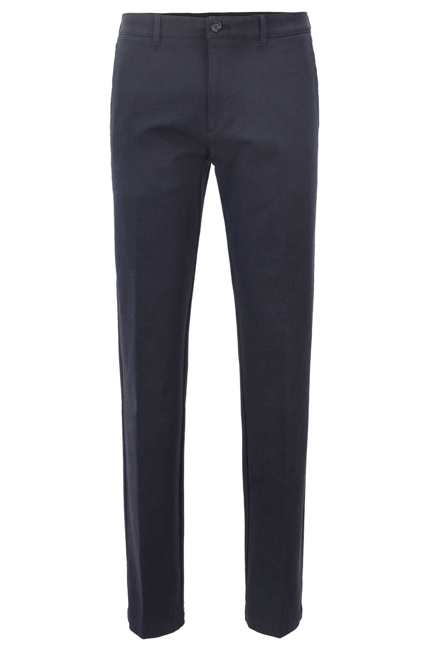 Regular-fit chinos in stretch mouliné twill, Dark Blue
