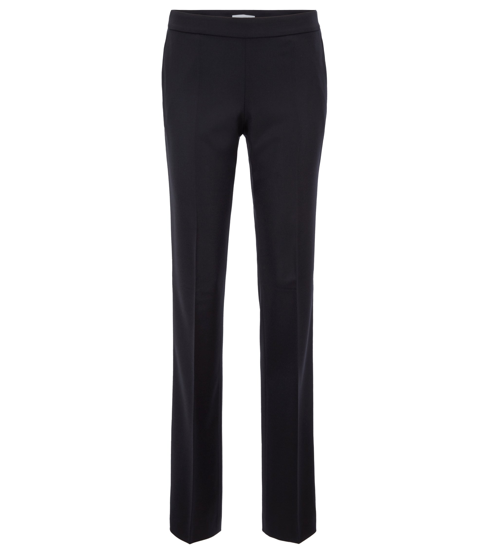Regular-fit pantalon van wol met stretch, Donkerblauw
