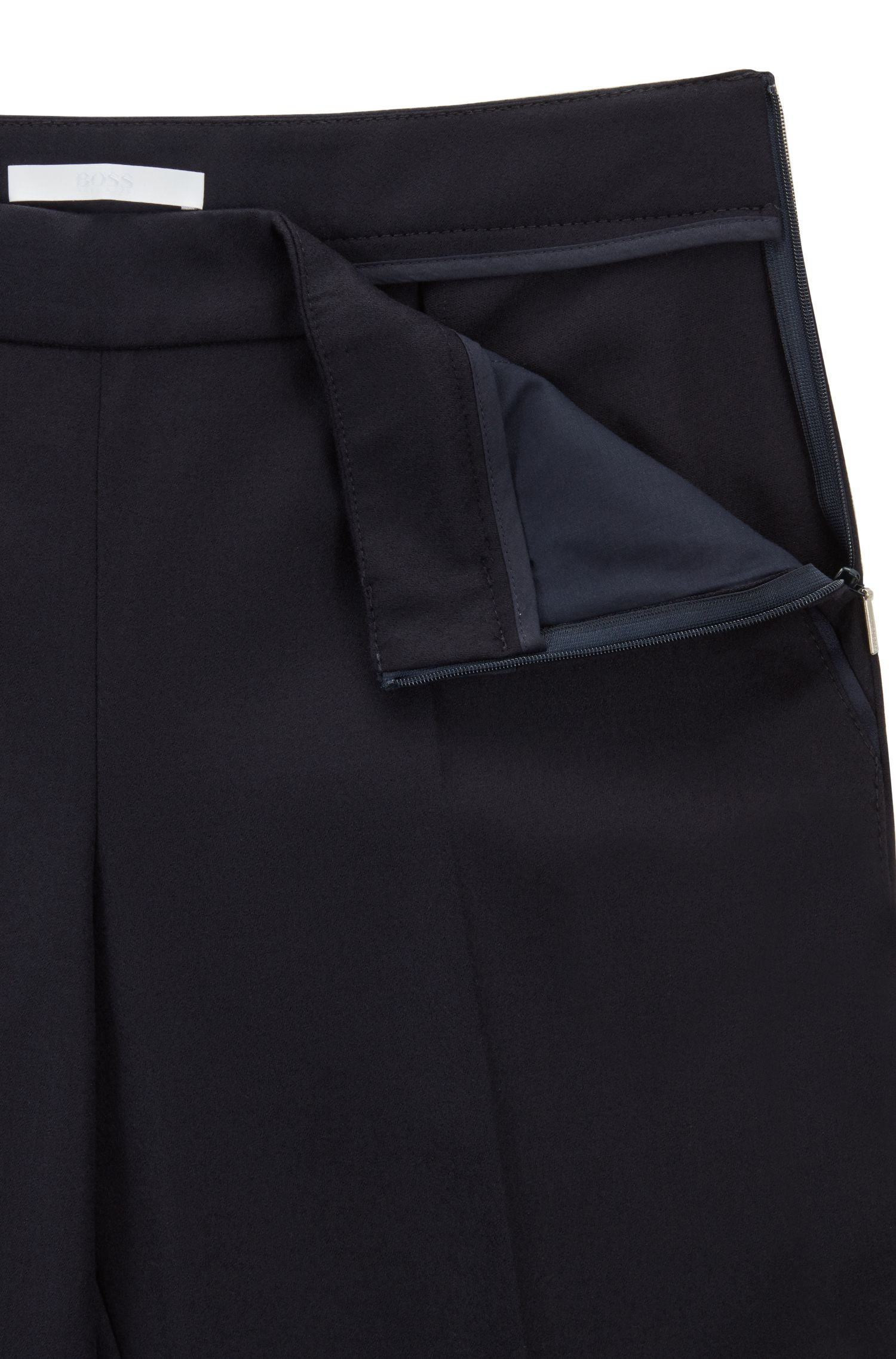Regular-fit formal trousers in stretch wool, Dark Blue