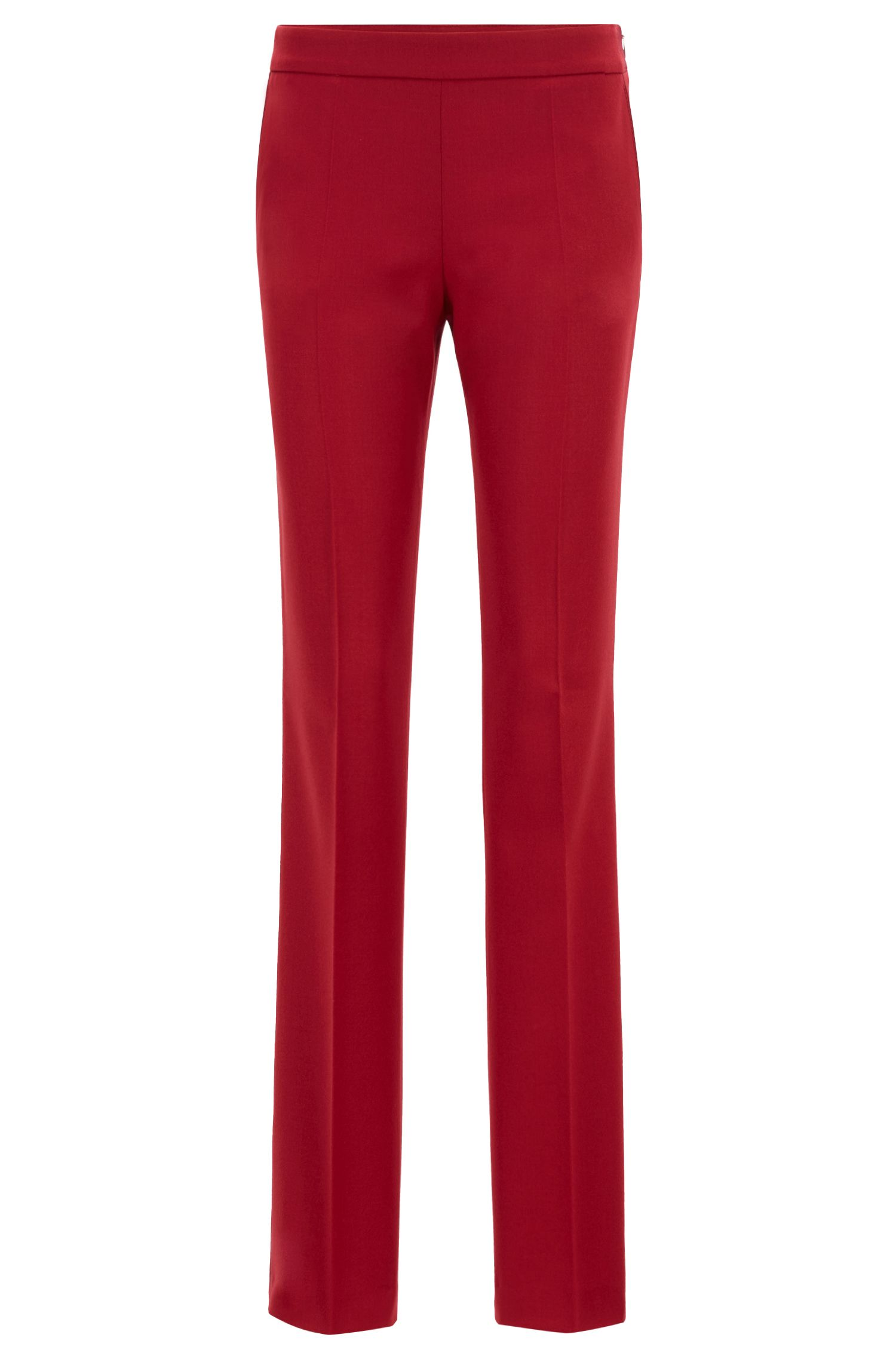 Regular-fit pantalon van wol met stretch, Donkerrood