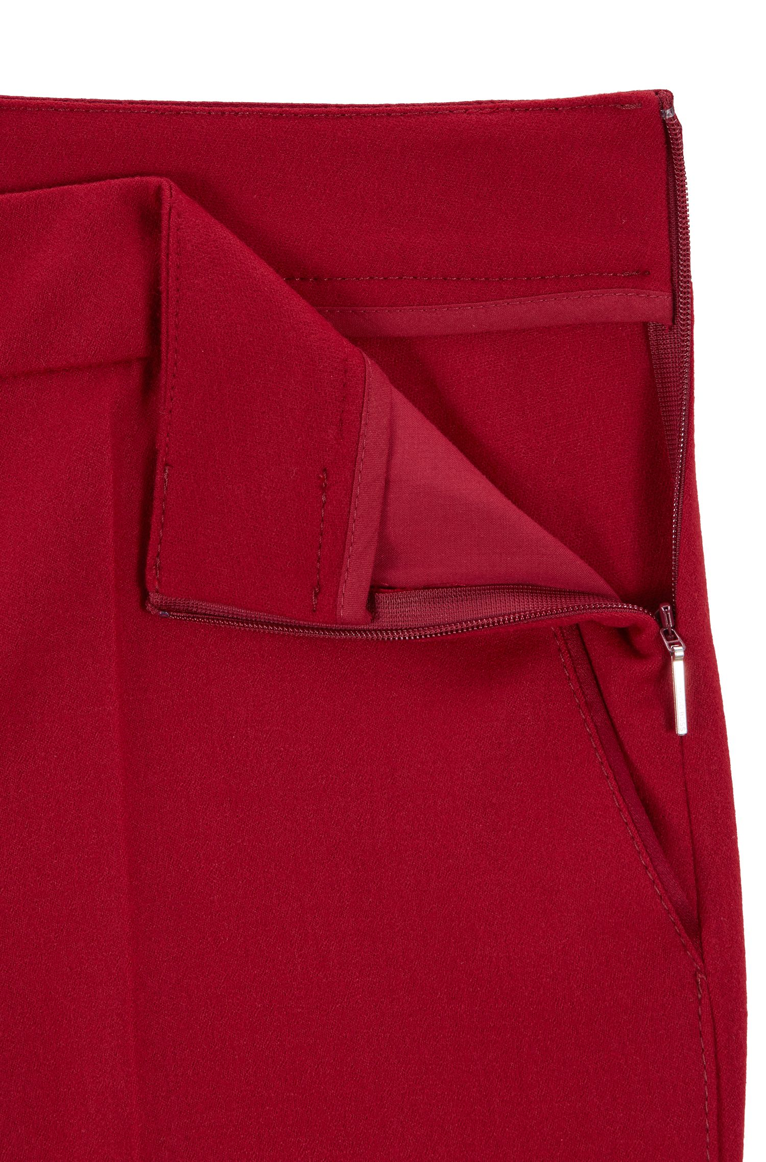 Regular-fit formal trousers in stretch wool, Dark Red