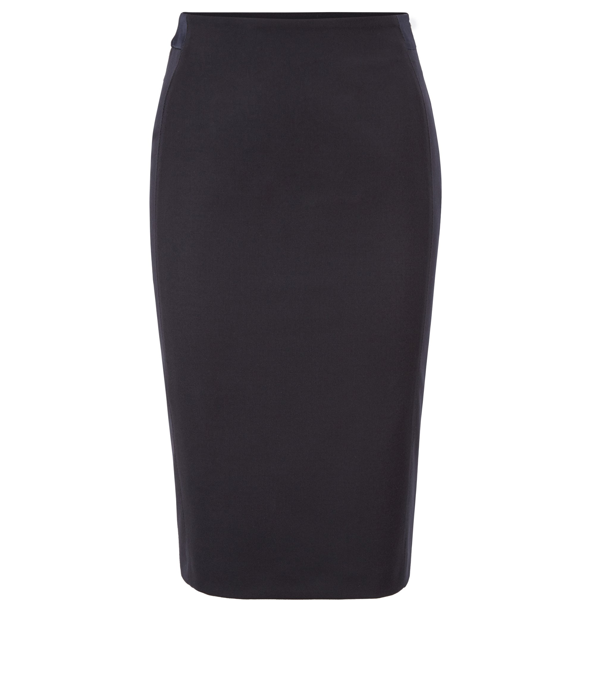 Regular-fit pencil skirt in stretch virgin wool, Dark Blue