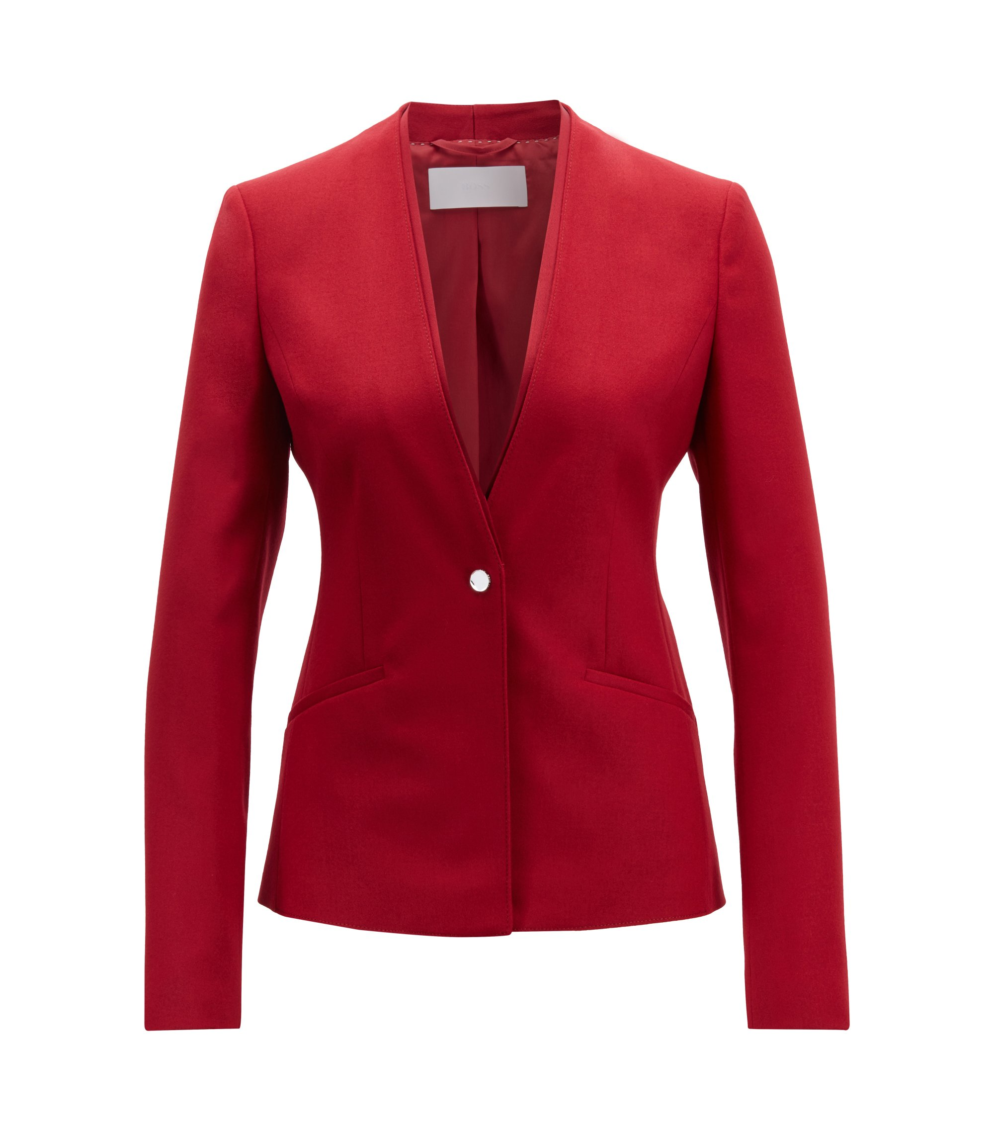 Regular-fit single-button jacket in stretch virgin wool, Dark Red