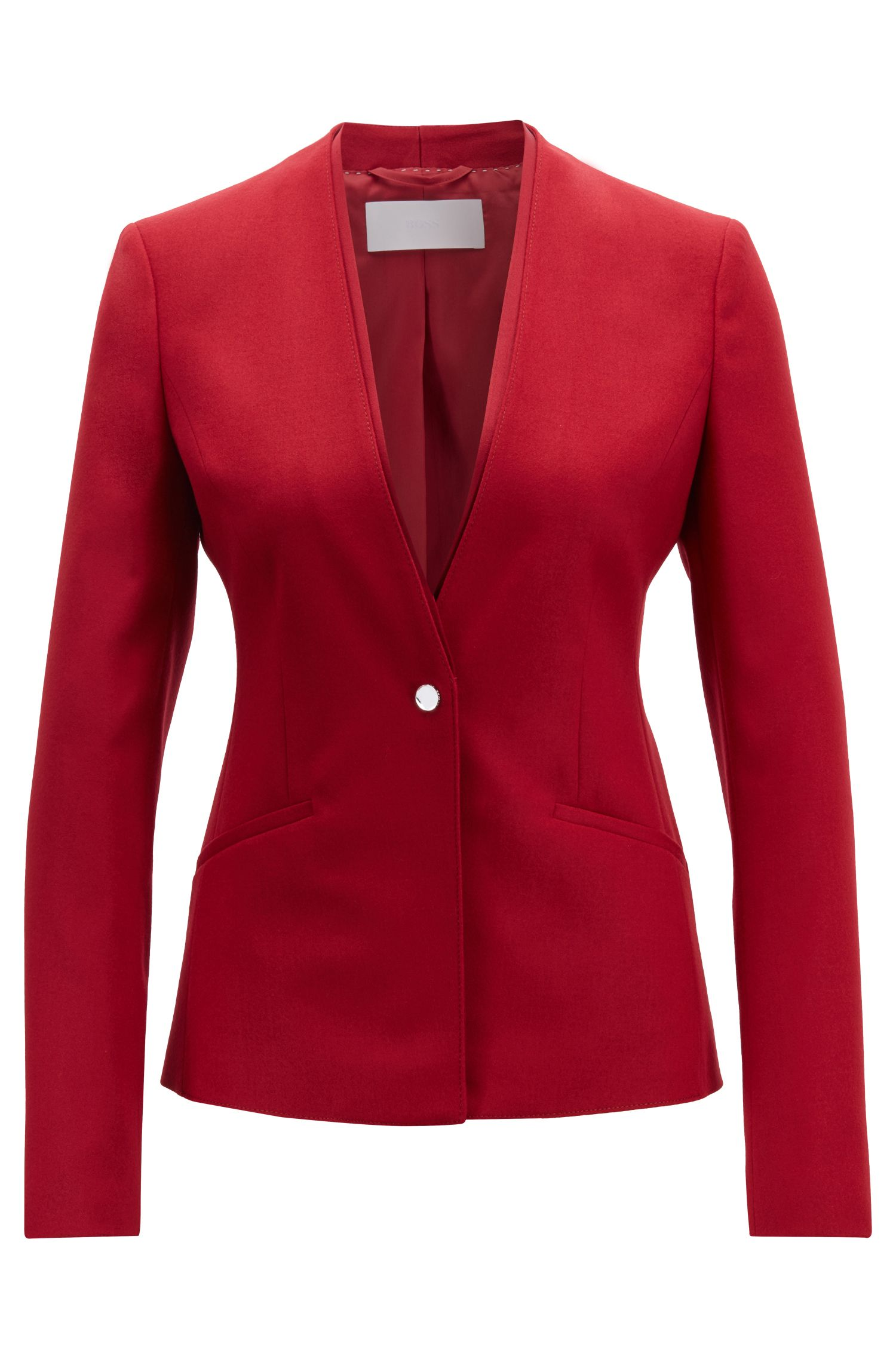Veste Regular Fit à un bouton en laine vierge stretch, Rouge sombre