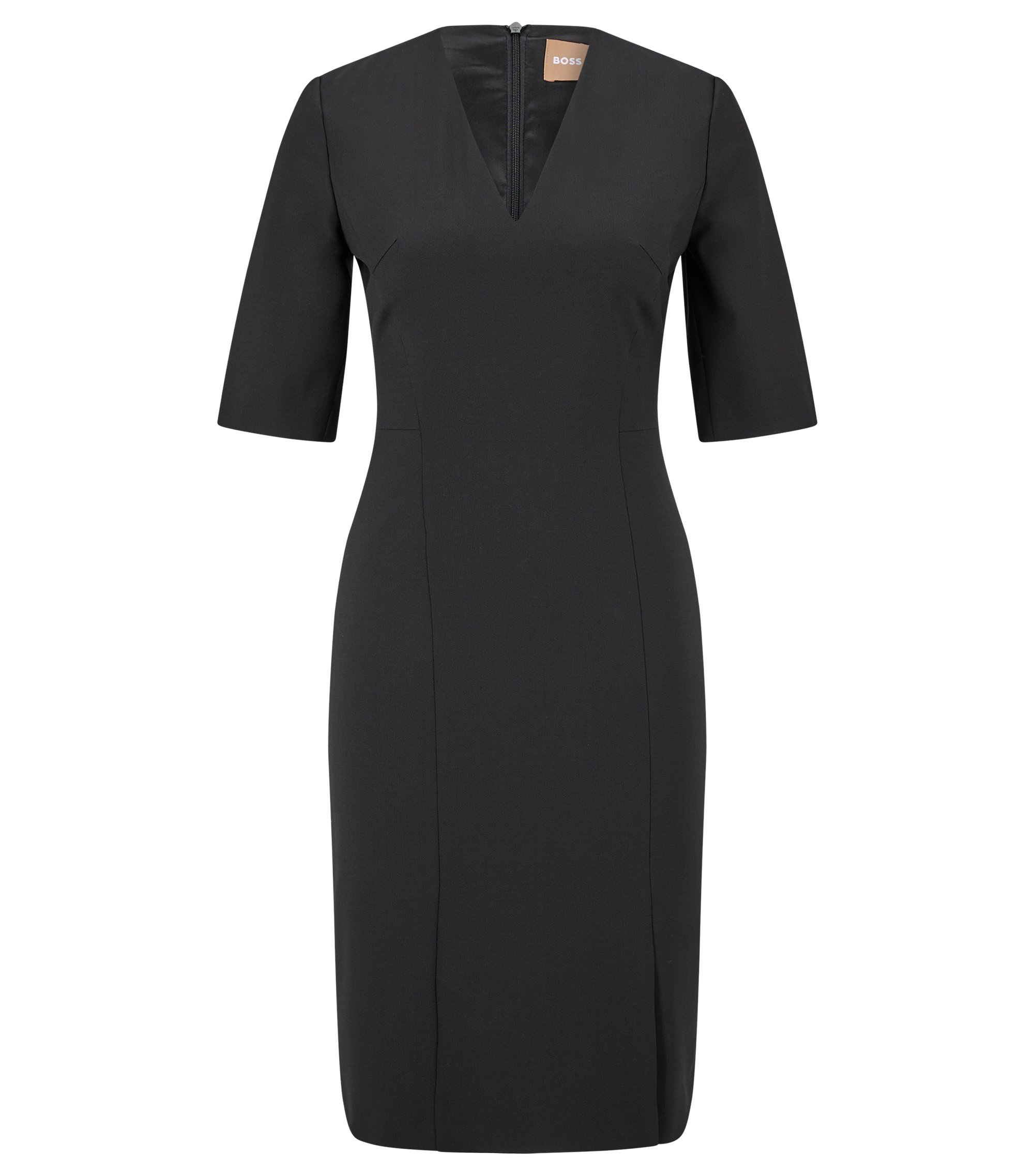 Stretch-virgin-wool shift dress with deep V neckline, Black