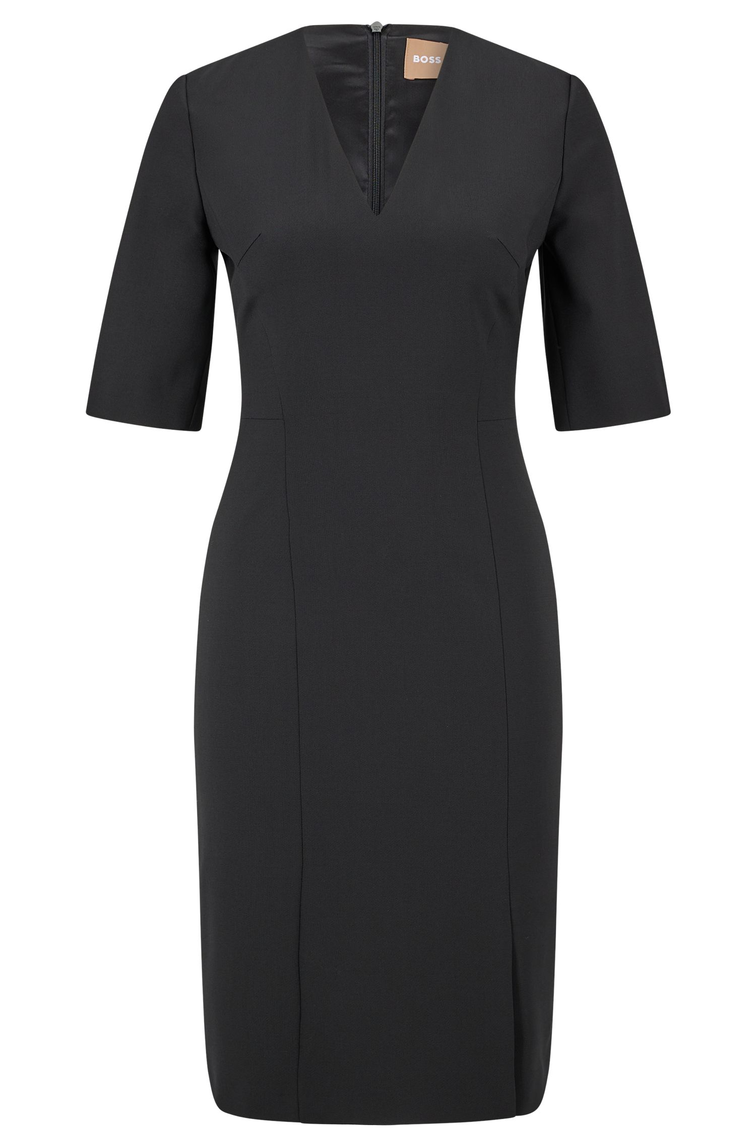 Vestido recto en lana virgen elástica con escote de pico pronunciado, Negro