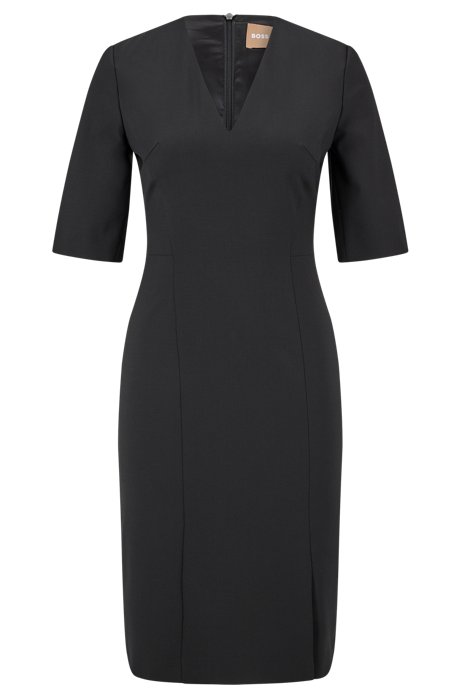 V-neck dress in Italian stretch wool, Black