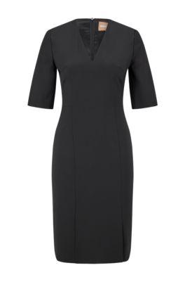 Short-sleeved dress in Italian stretch wool, Black