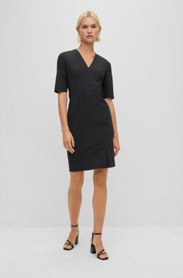 Short-sleeved dress in Italian stretch wool, Black