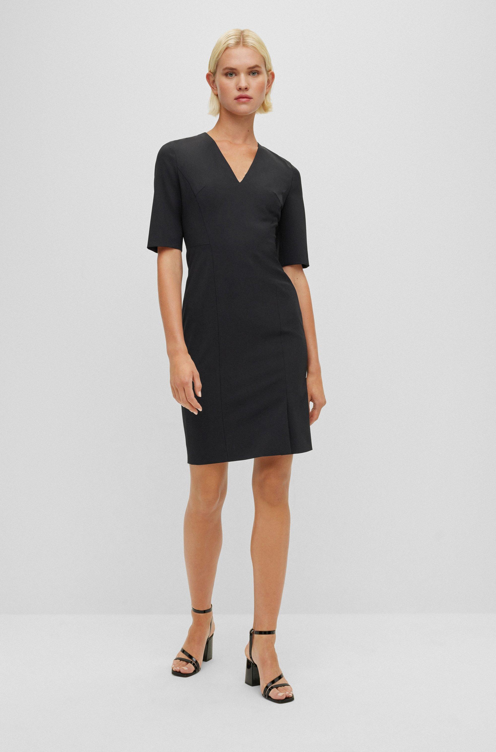 Short-sleeved dress in Italian stretch wool