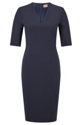 Kleid aus italienischer Stretch-Schurwolle mit V-Ausschnitt, Dunkelblau