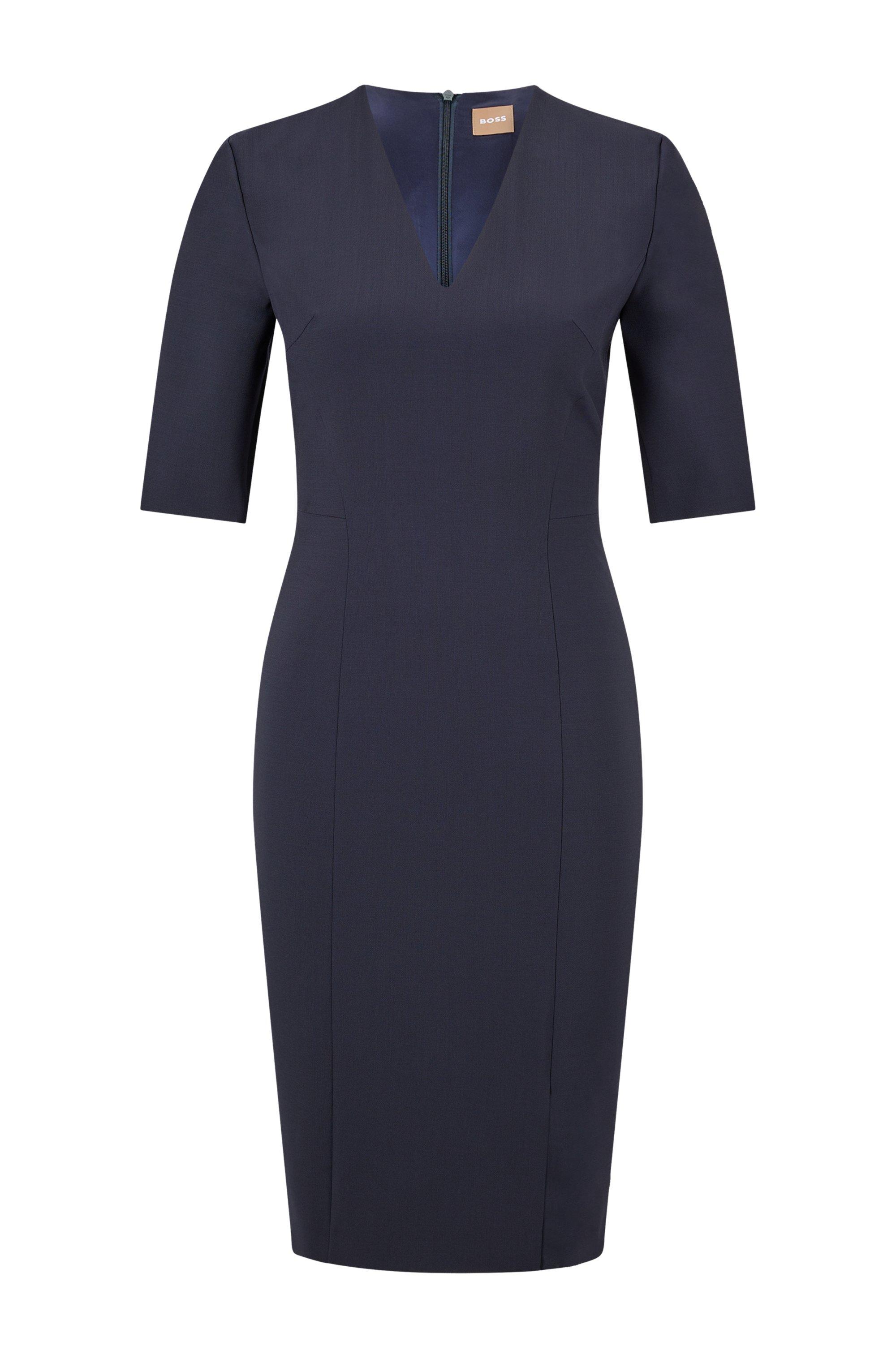 Vestido de mangas cortas en lana elástica italiana, Azul oscuro