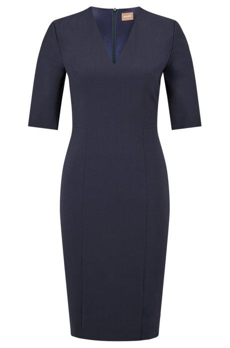 V-neck dress in Italian stretch wool, Dark Blue