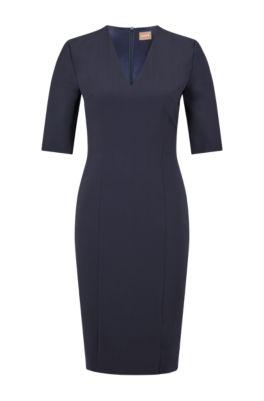 Short-sleeved dress in Italian stretch wool, Dark Blue