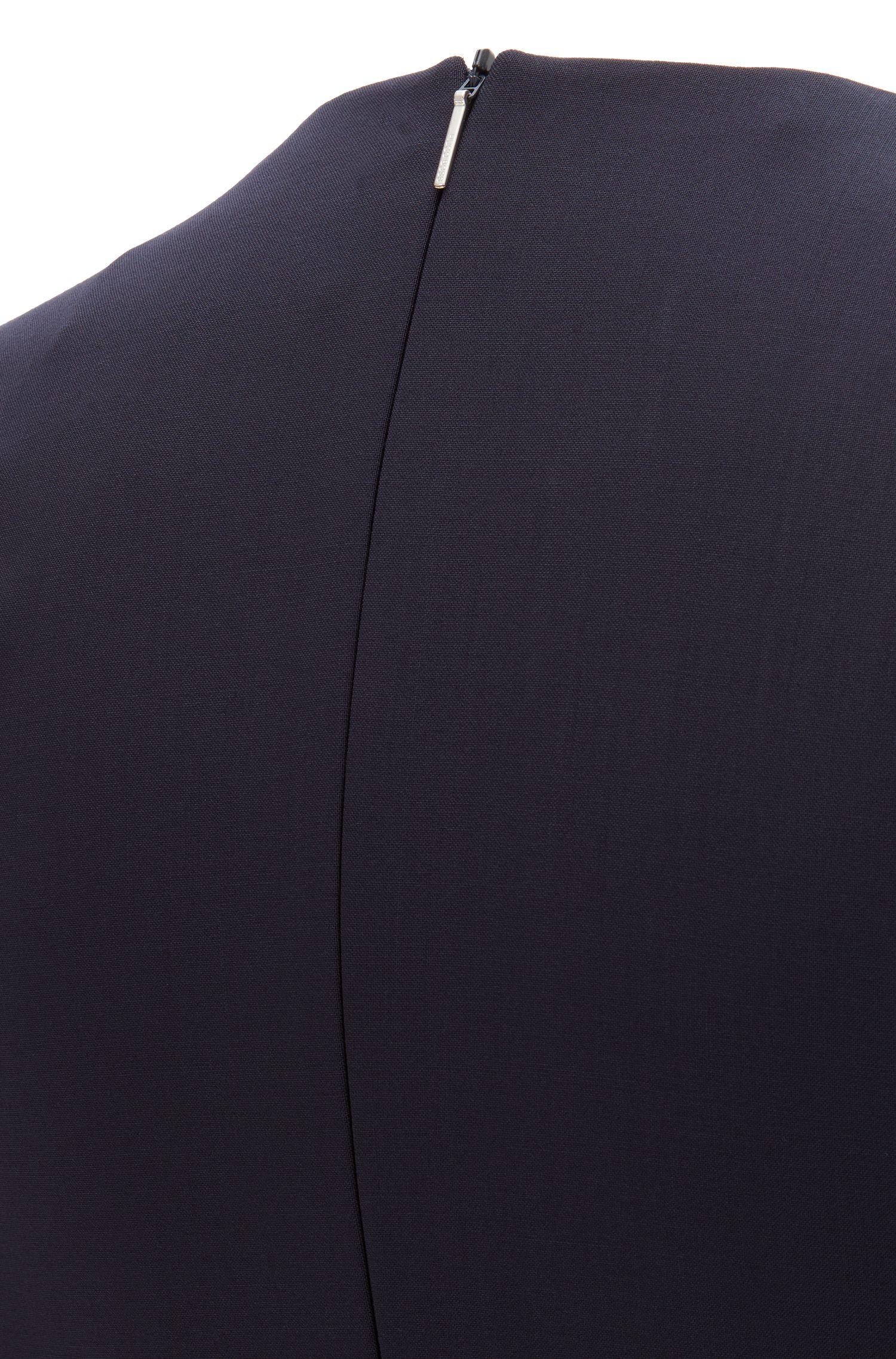 Shiftdress met diepe V-hals van scheerwol met stretch, Donkerblauw