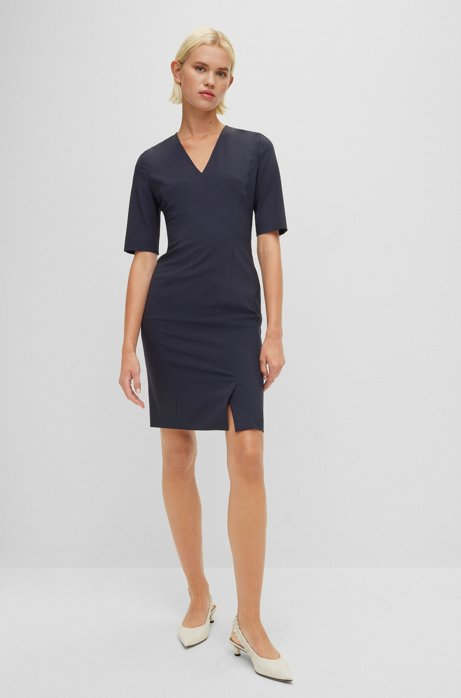 Short-sleeved dress in Italian stretch wool, Dark Blue