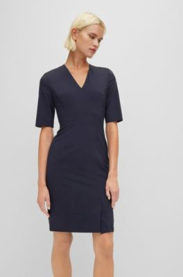 Rosa *NEU* Hugo Boss Kleid Damen Etuikleid Cocktailkleid Shiftkleid Gr 42 XL