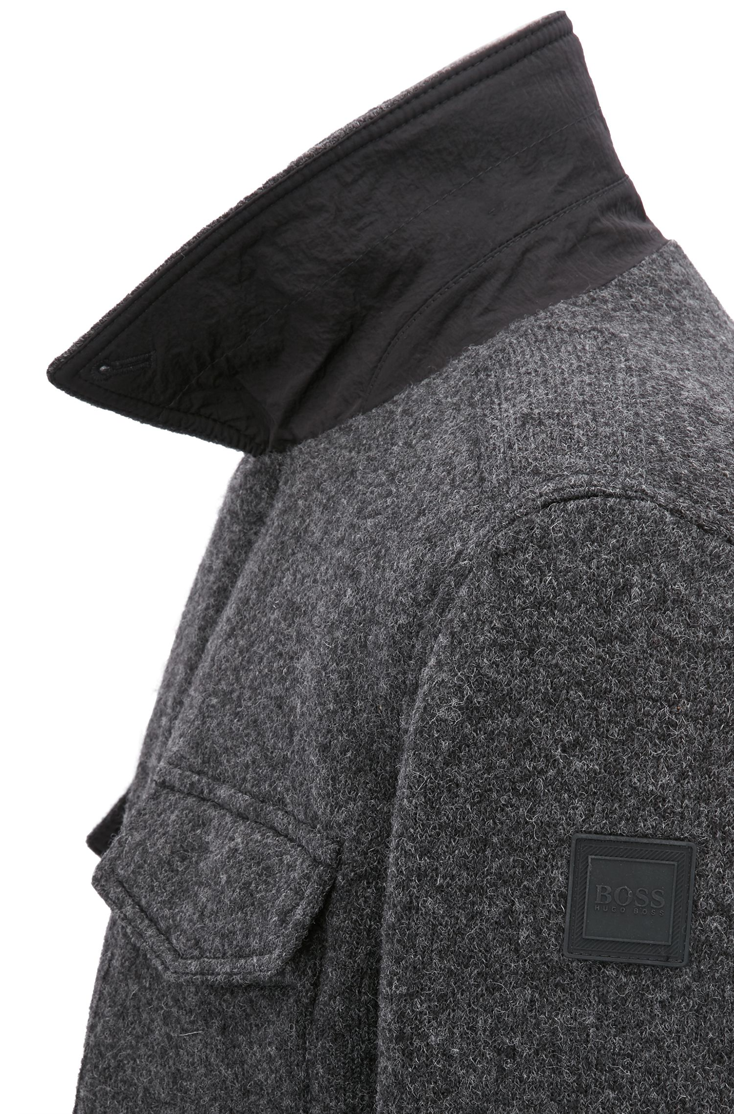 Technical-knit jacket with felted back and PrimaLoft® padding, Grey