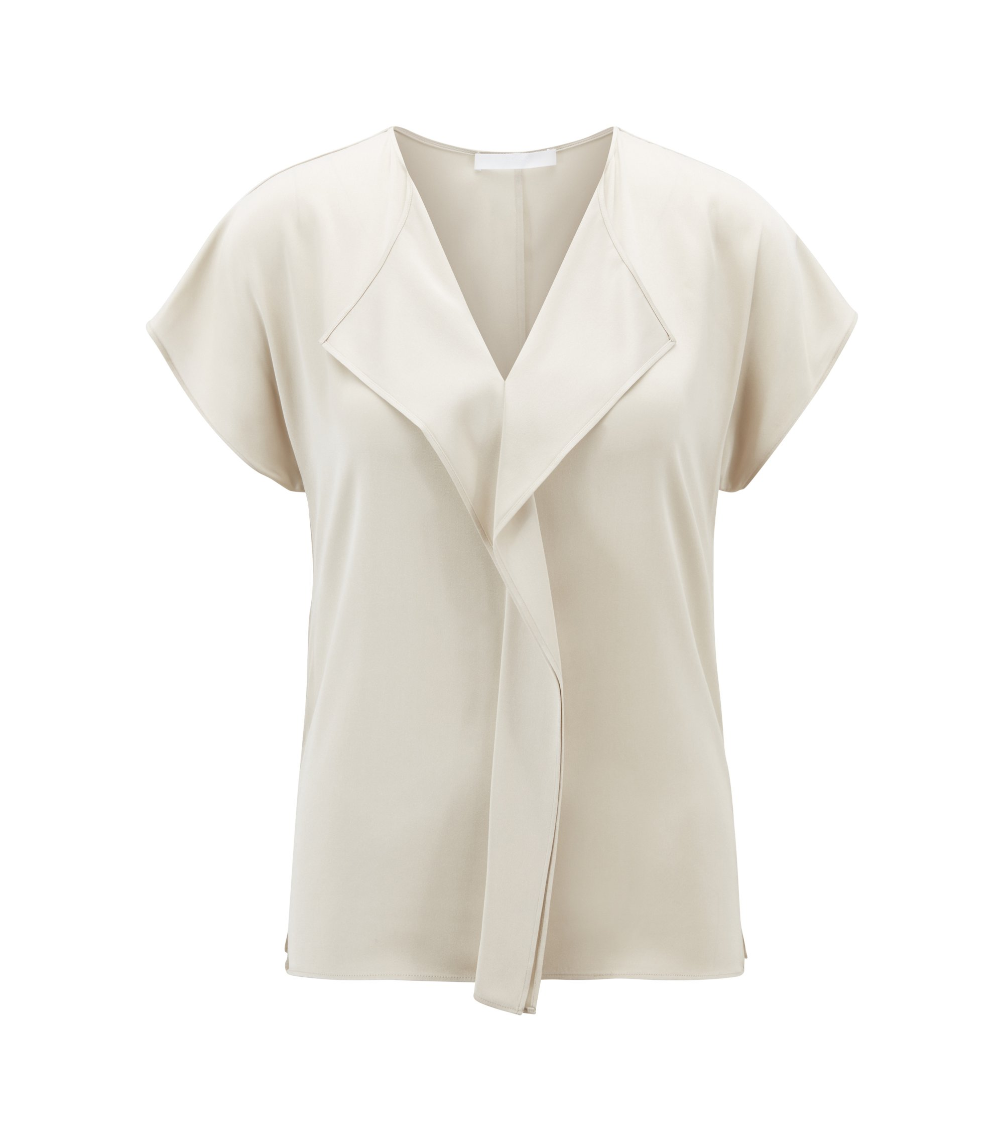 Frill-detail top in silk-based crepe de Chine, Light Beige