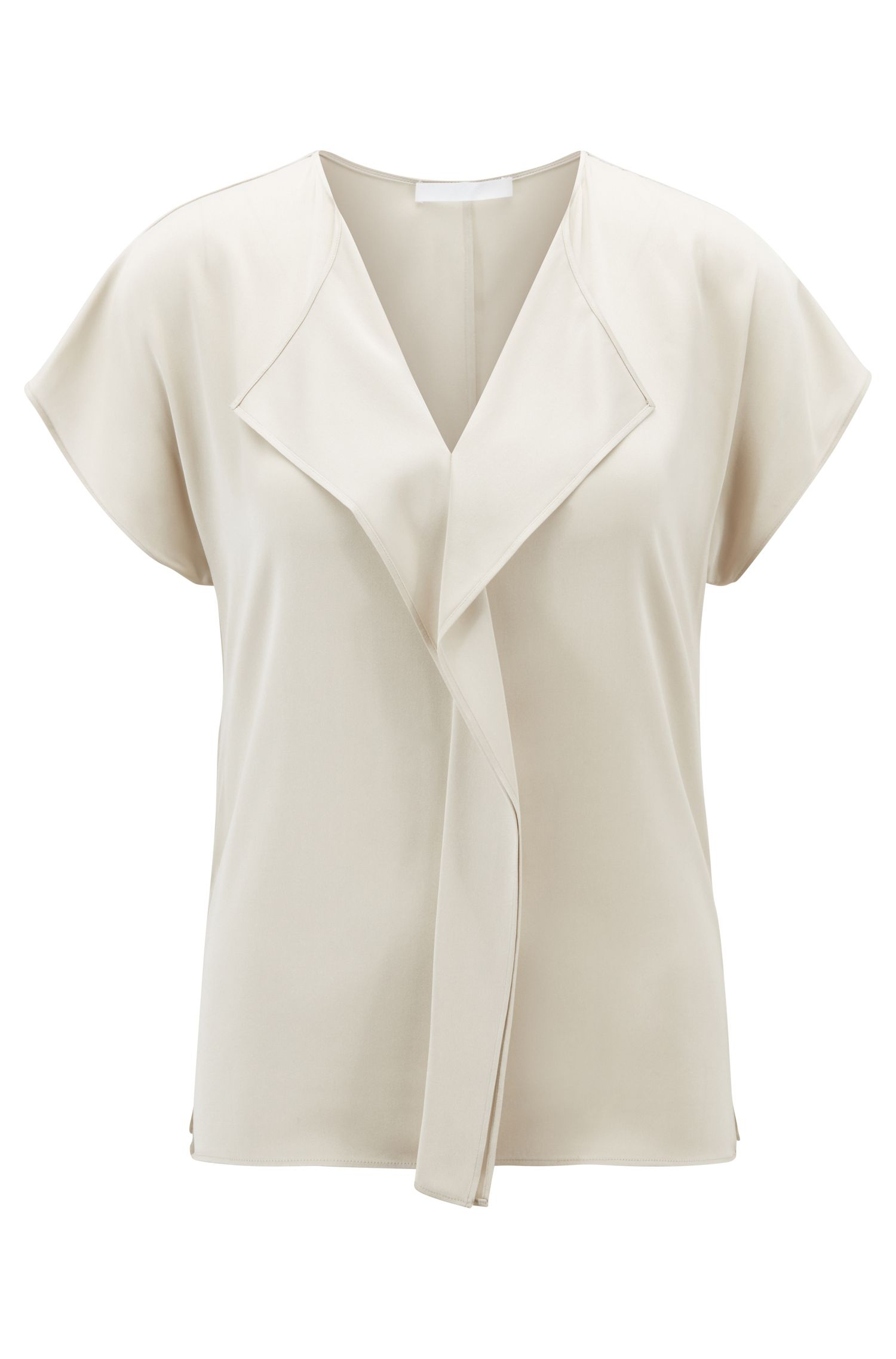Frill-detail top in silk-based crepe de Chine