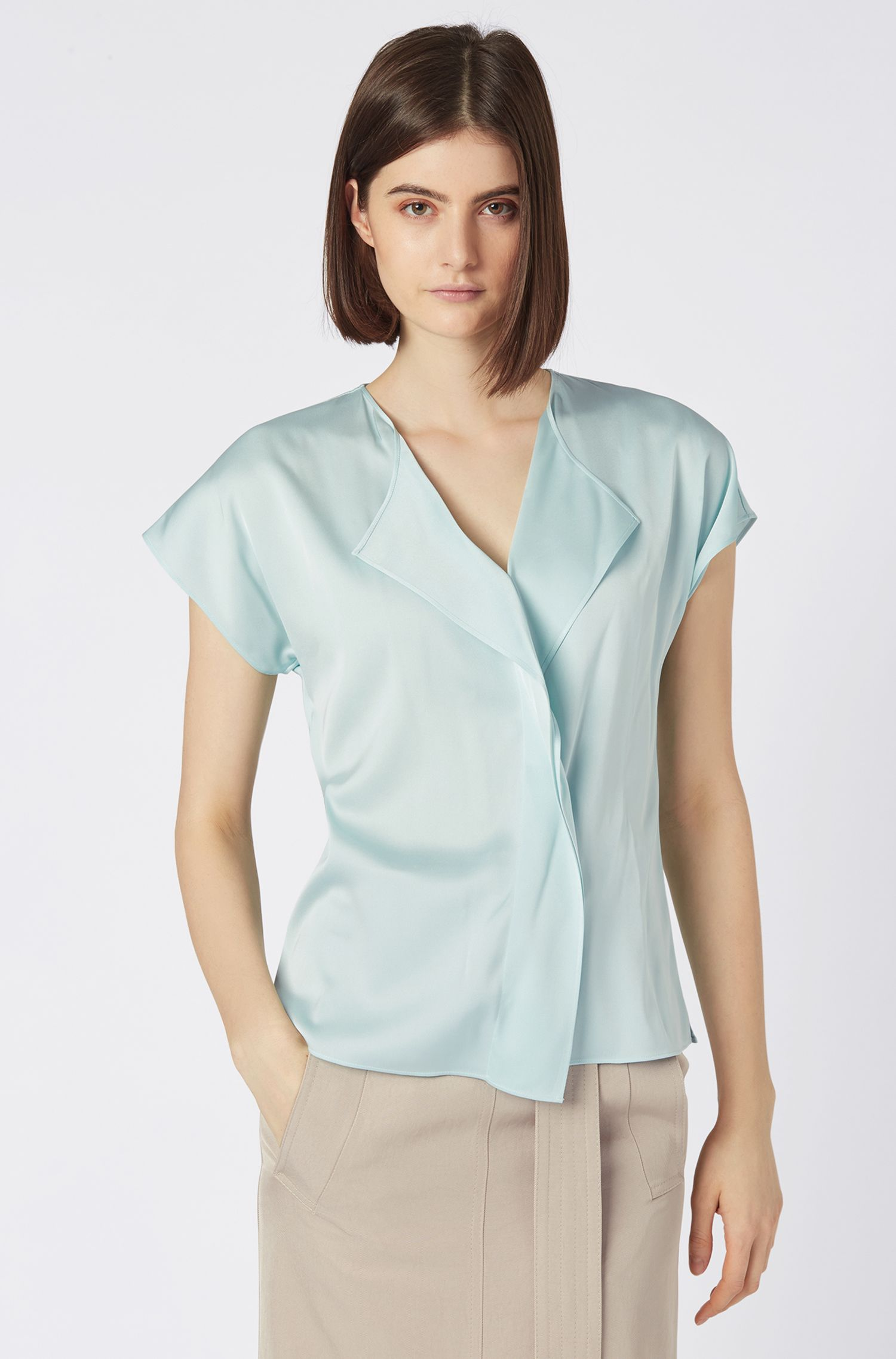 Frill-detail top in silk-based crepe de Chine, Light Blue