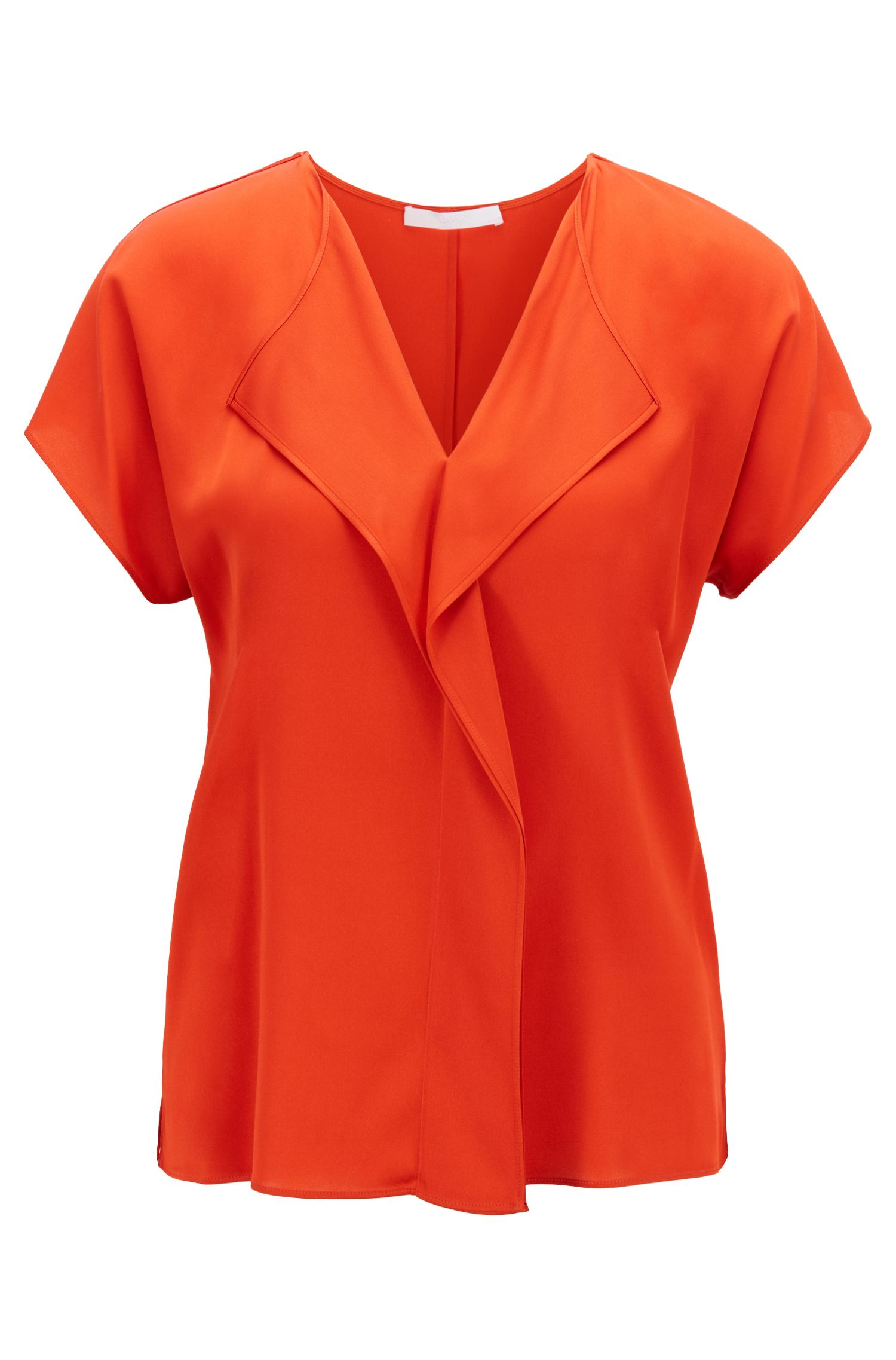 Frill-detail top in silk-based crepe de Chine, Red