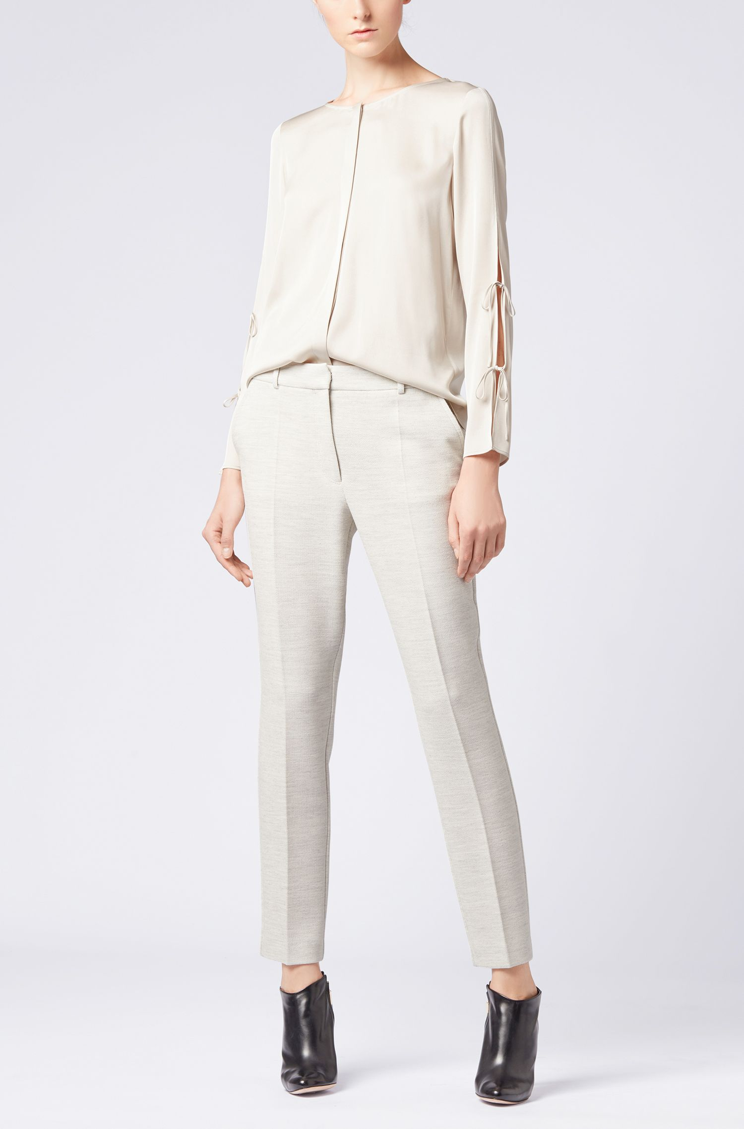 Bow-detail blouse in stretch crepe de chine, Light Beige