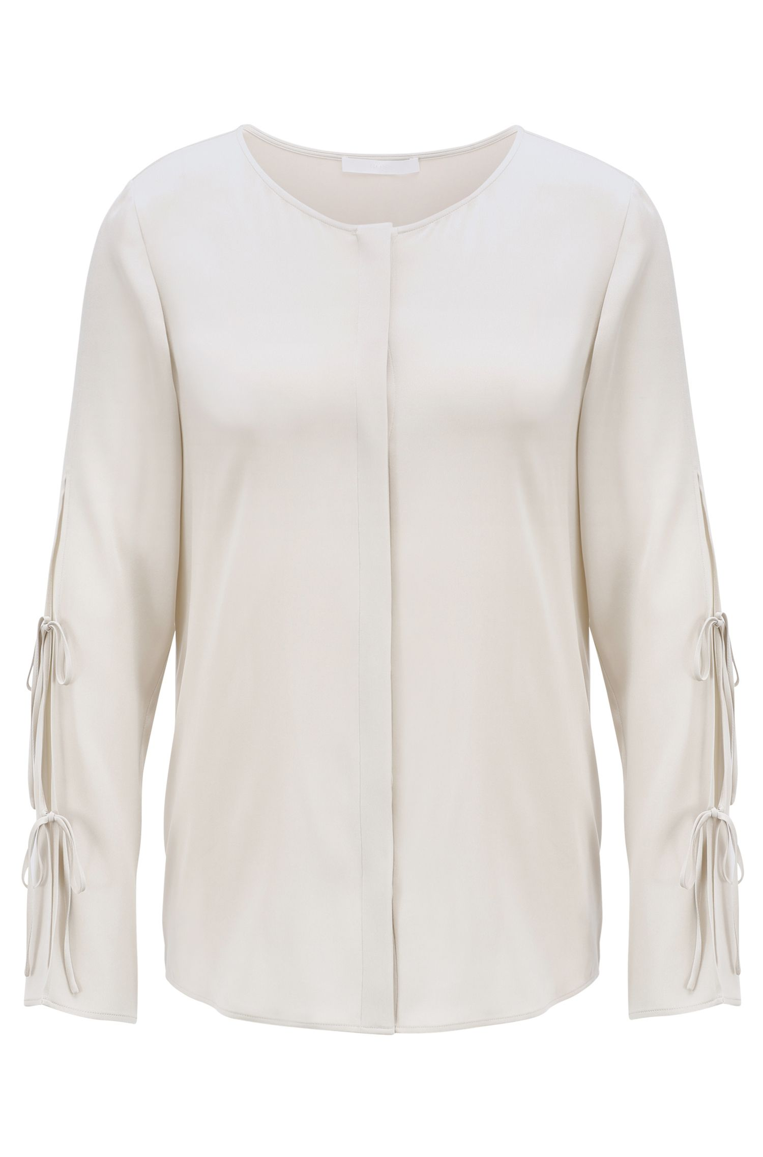 Bow-detail blouse in stretch crepe de chine