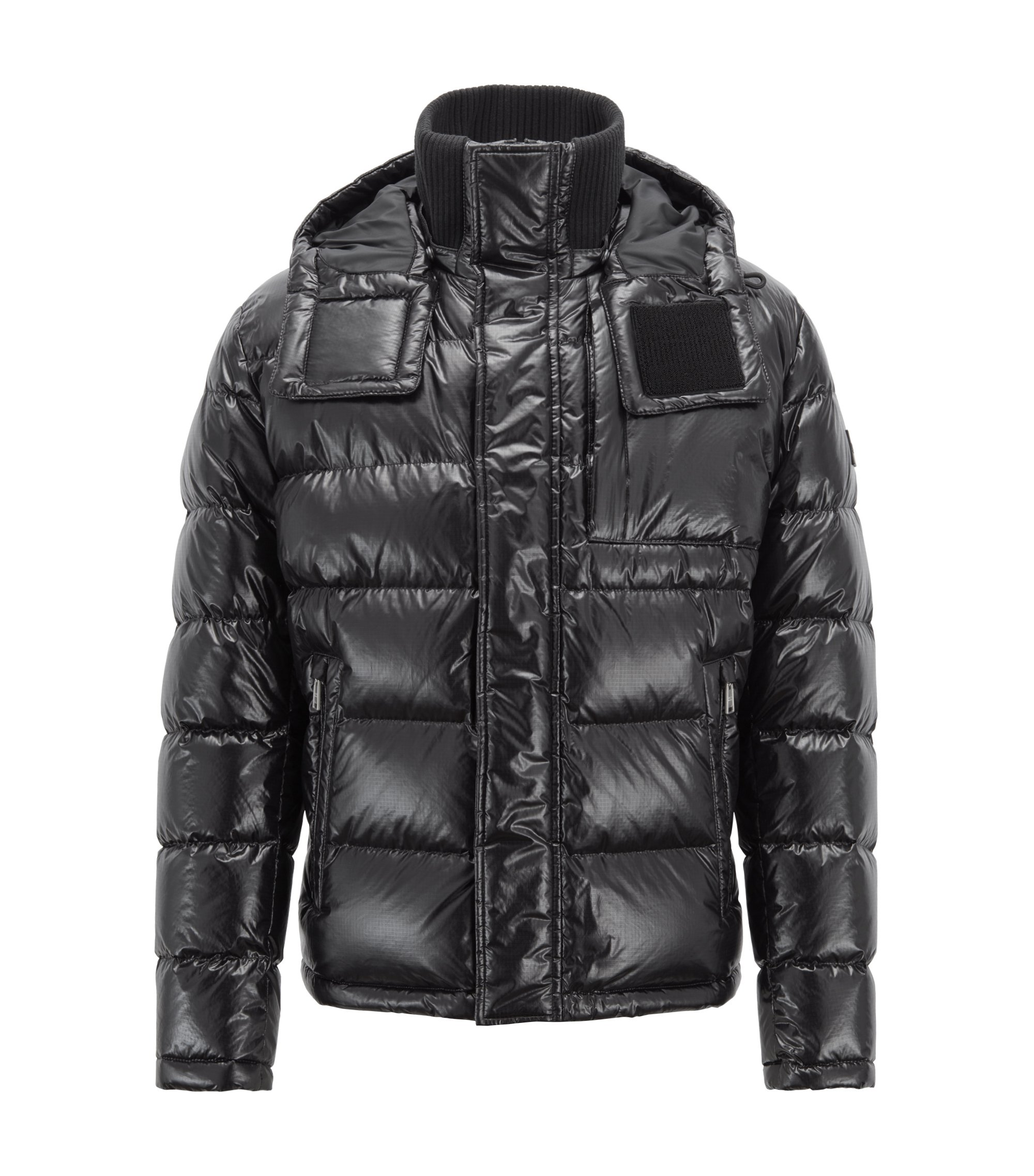 Blouson-style down-filled jacket with detachable hood, Black