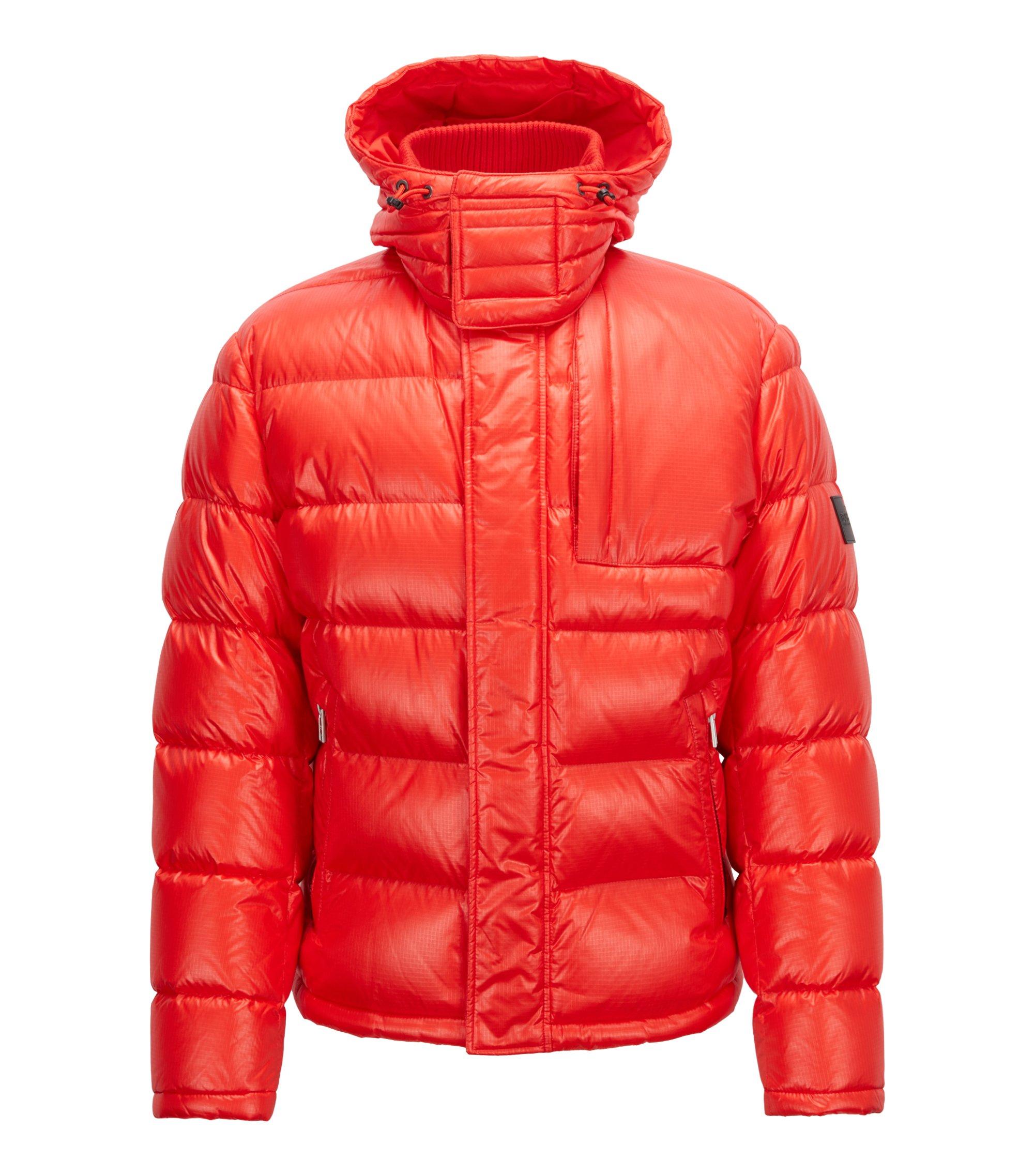Giacca stile blouson con imbottitura di piume e cappuccio rimovibile, Rosso